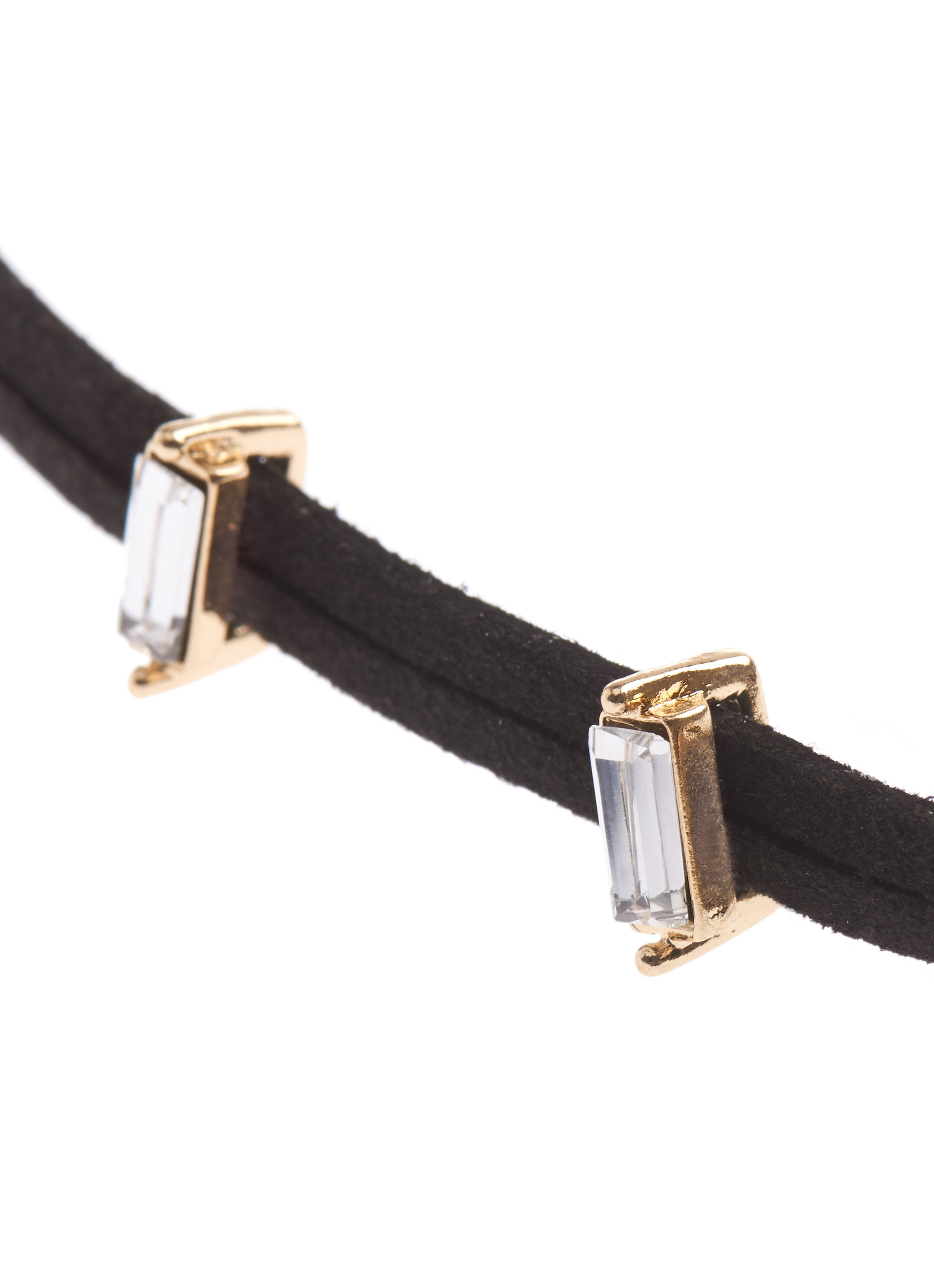 Velvet Crystal Choker Necklace, Gold, hi-res