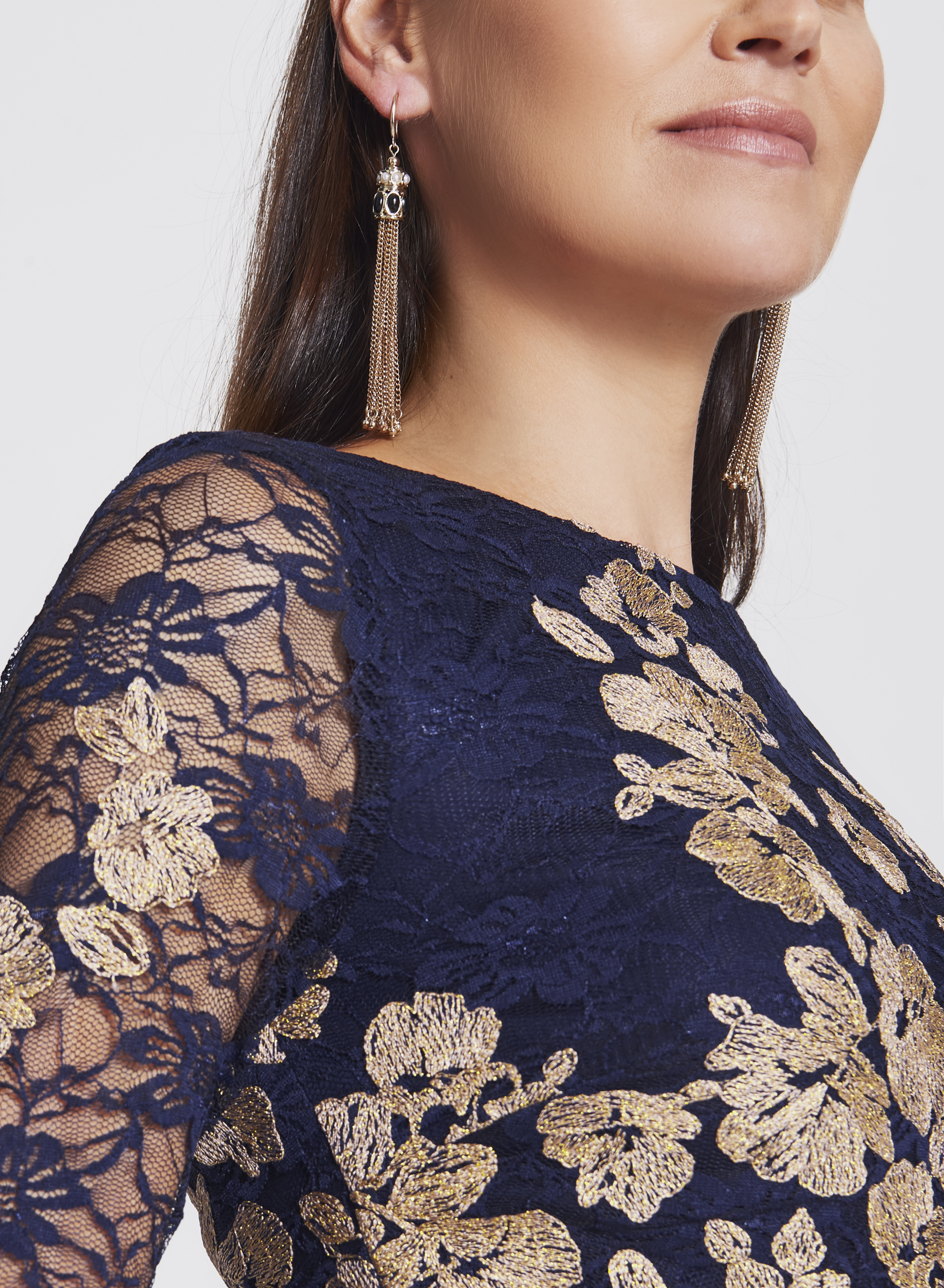 Floral Lace Two-Tone Dress, Blue, hi-res