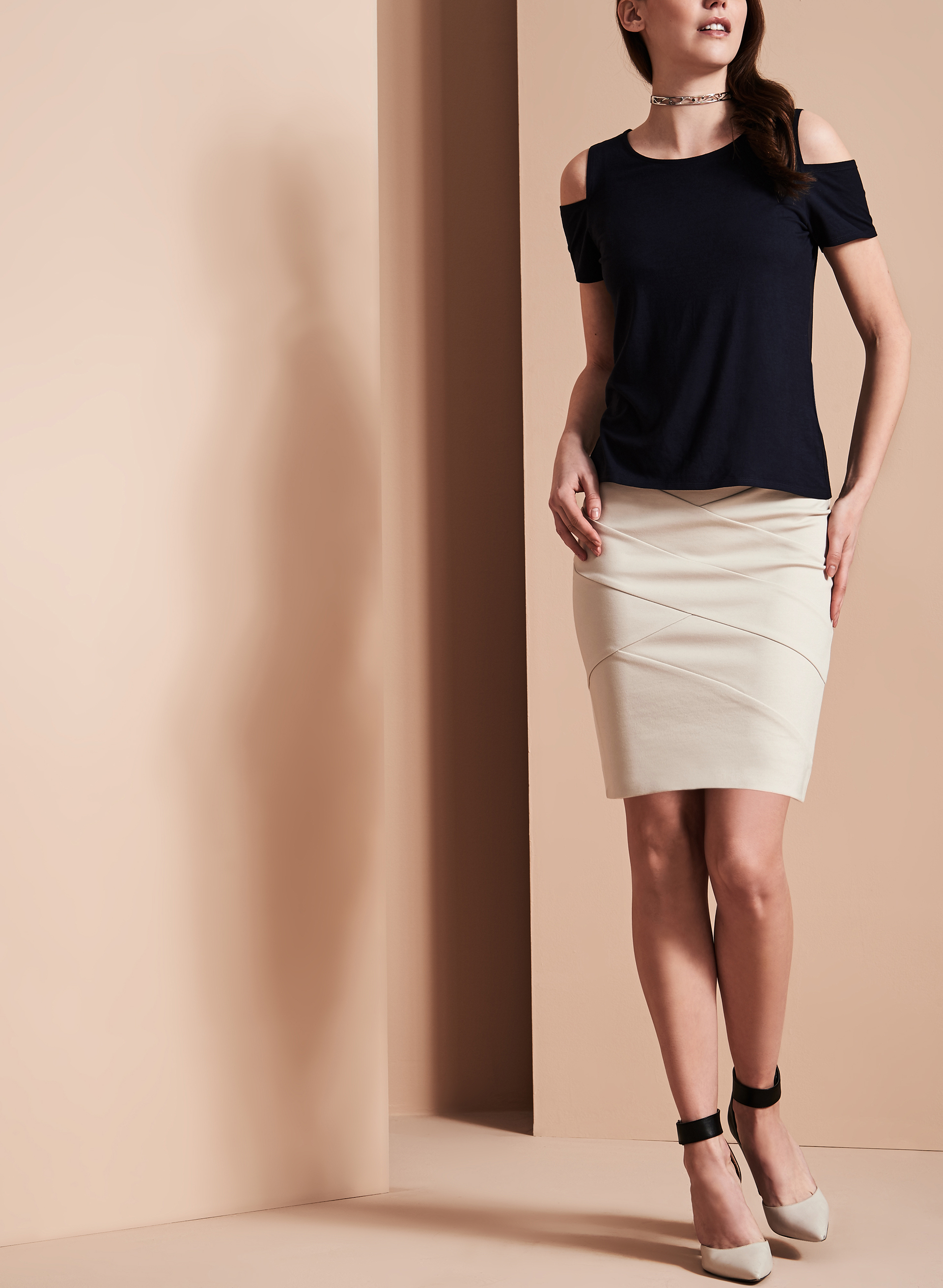 Pull-On Panelled Skirt, Grey, hi-res
