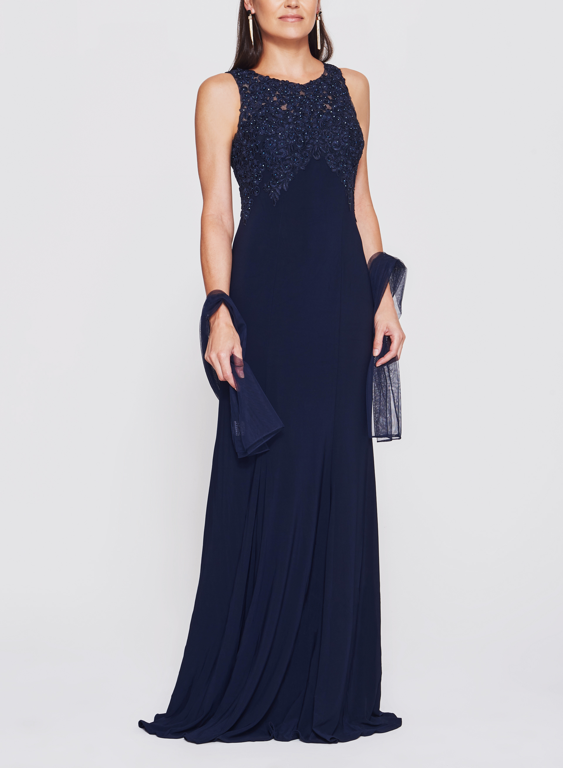 BA Nites - Rhinestone Embroidered Jersey Gown, Blue, hi-res