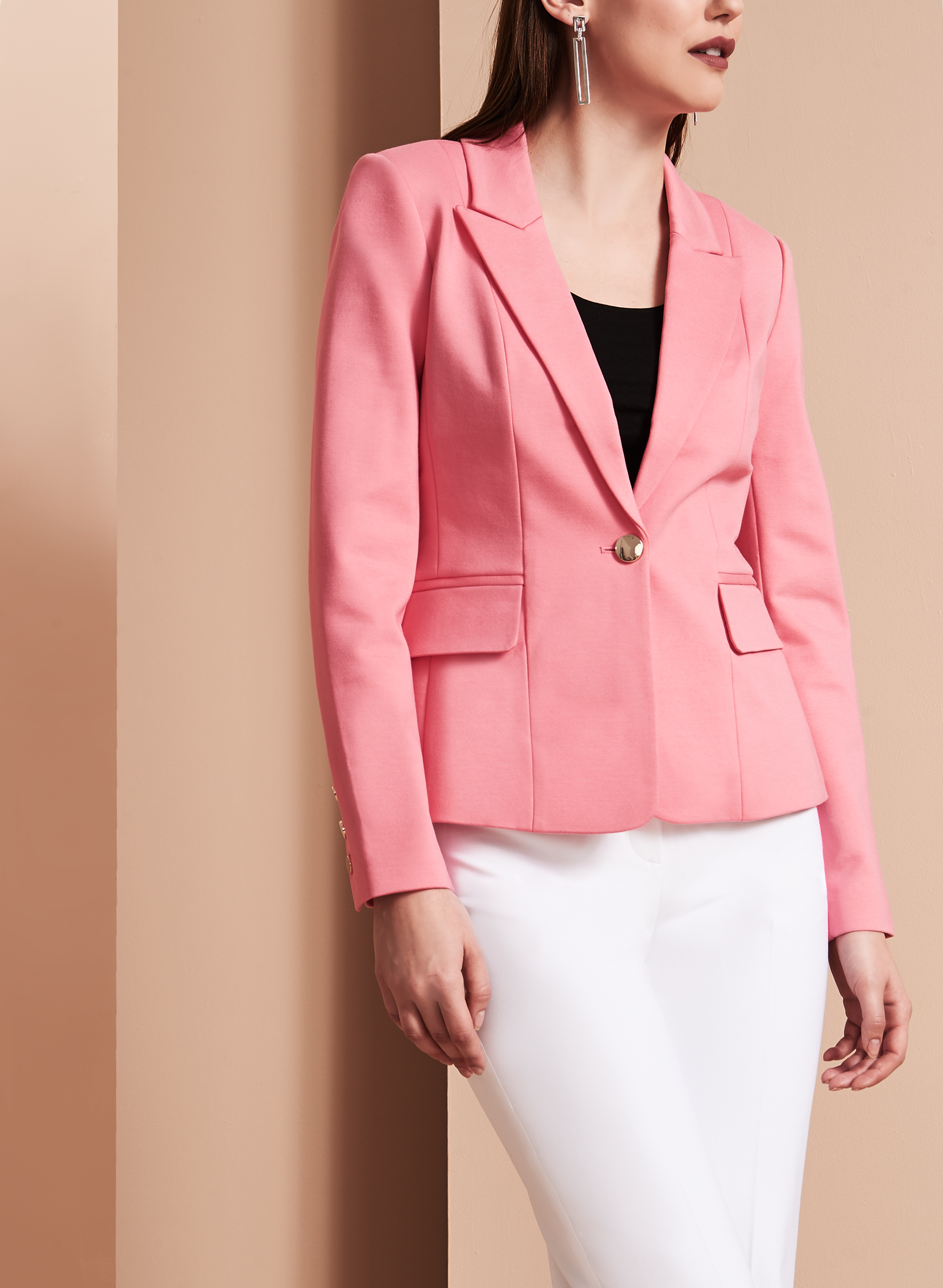 One-Button Blazer, Pink, hi-res