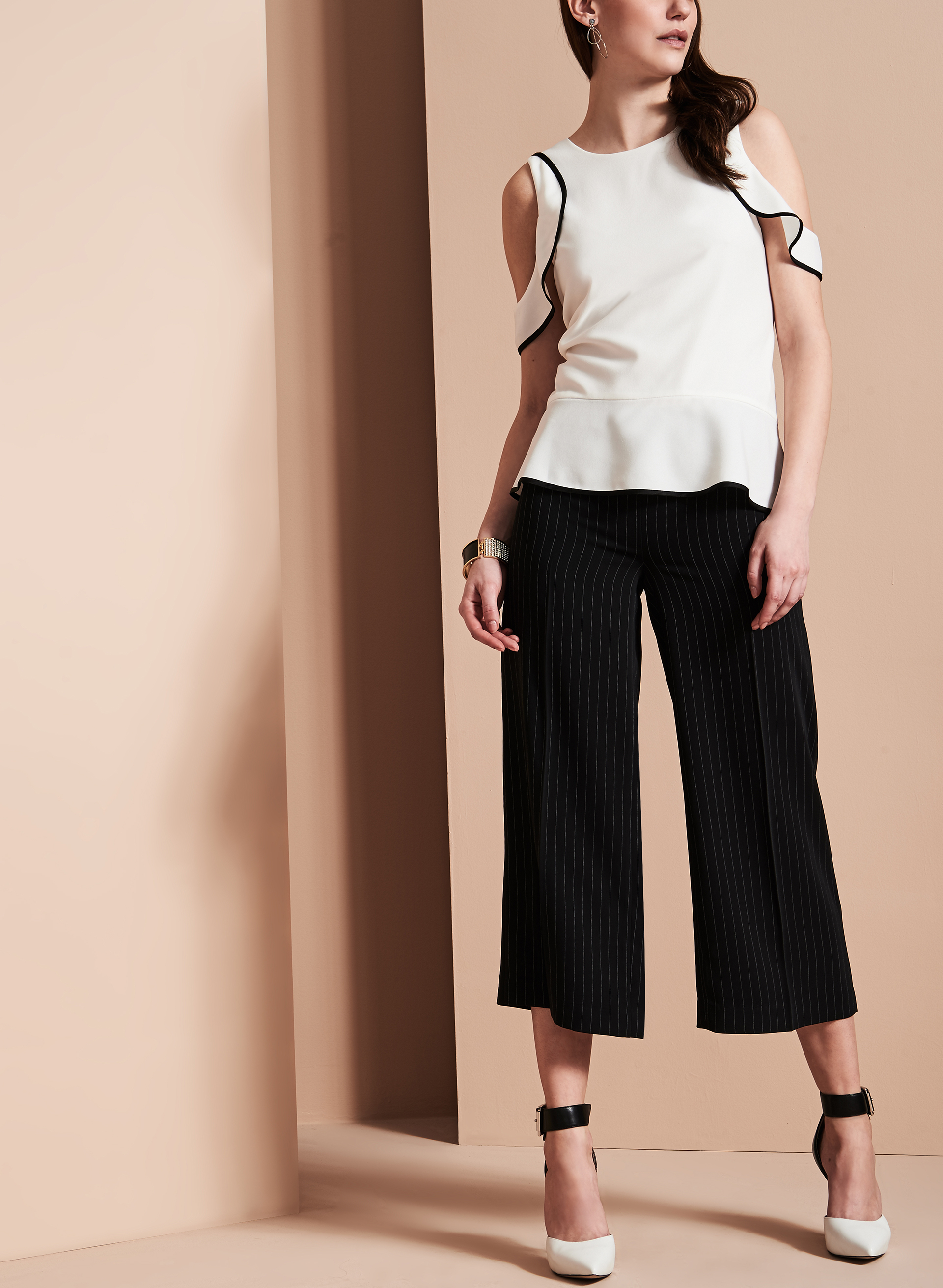 Stripe Print Wide Leg Culotte Pants, Black, hi-res