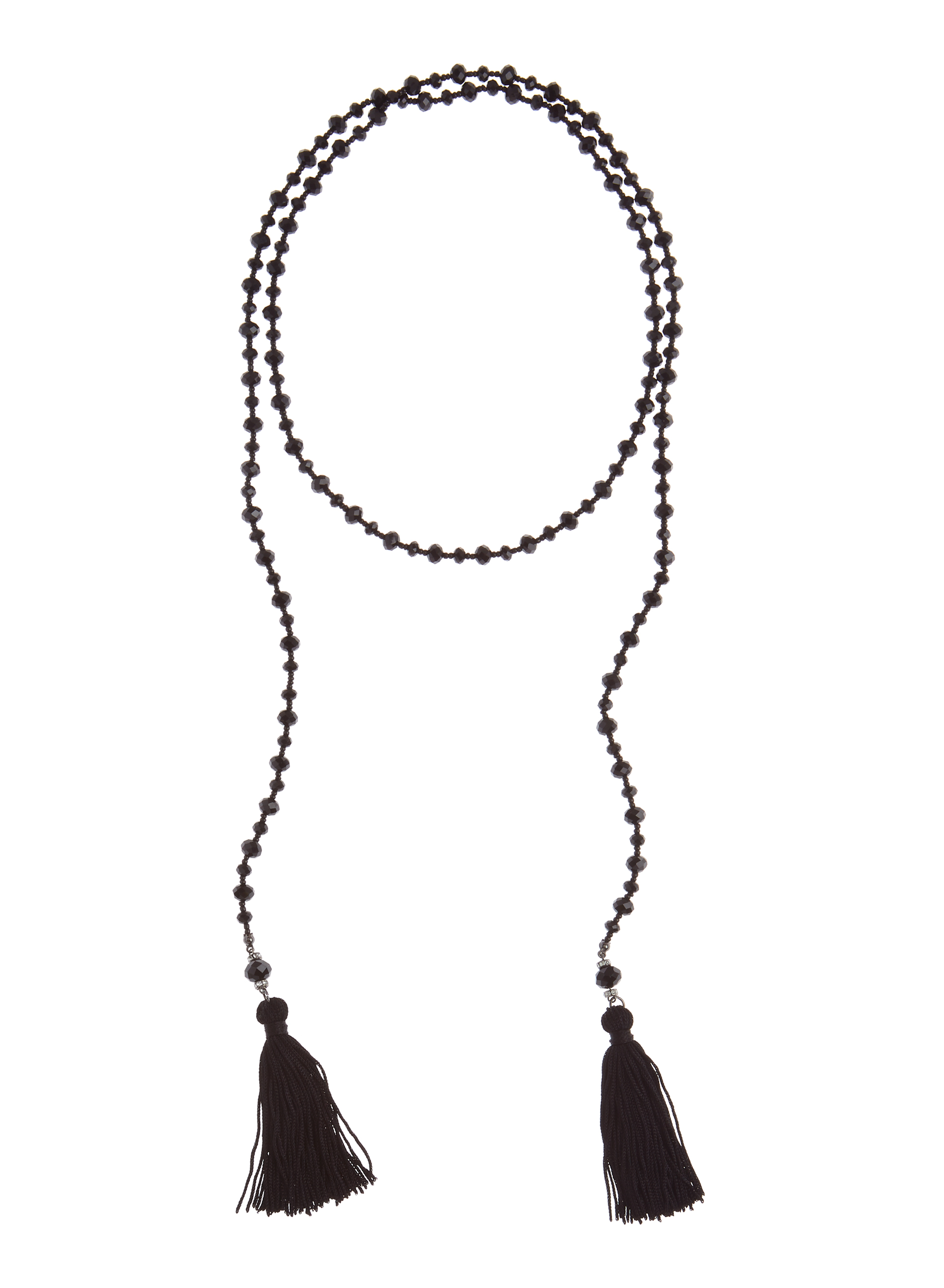 Tassled Lariat Necklace, Black, hi-res