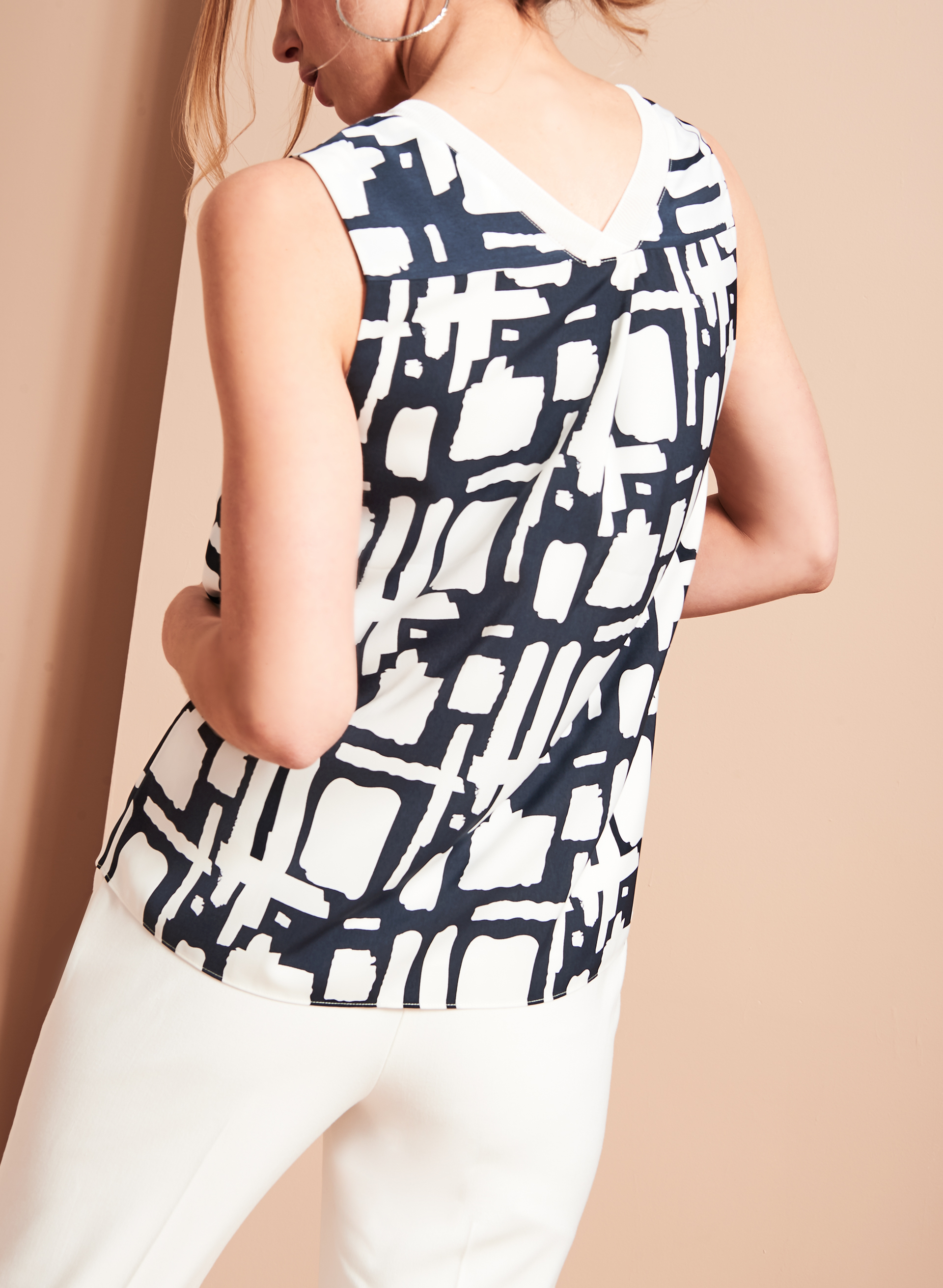 Sleeveless Rib Neck Top, Blue, hi-res