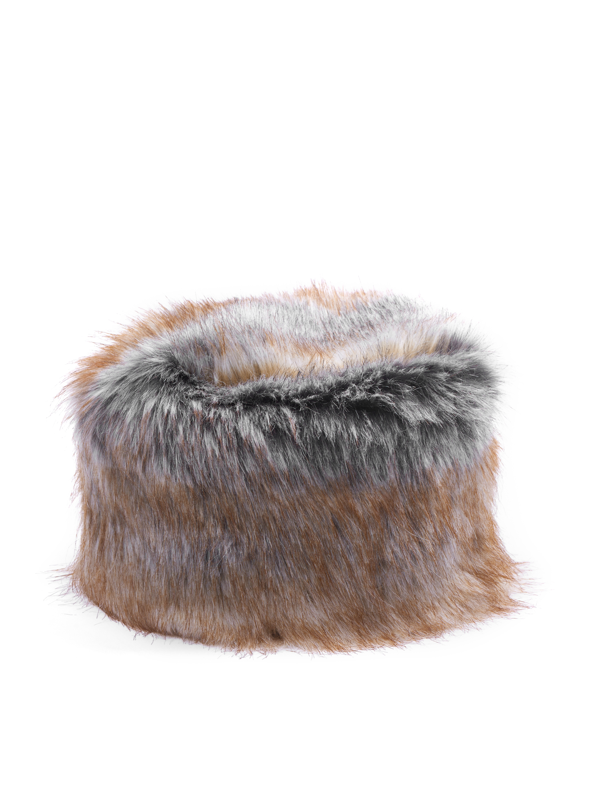 Dégradé Faux Fur Hat, Brown, hi-res