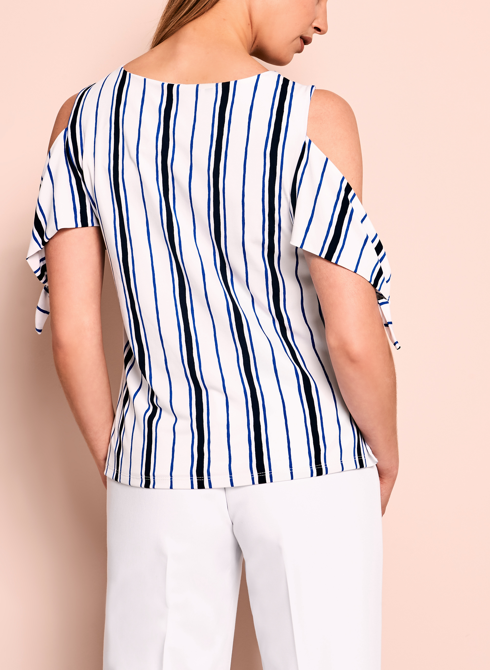 Stripe Print Cold Shoulder Top, White, hi-res