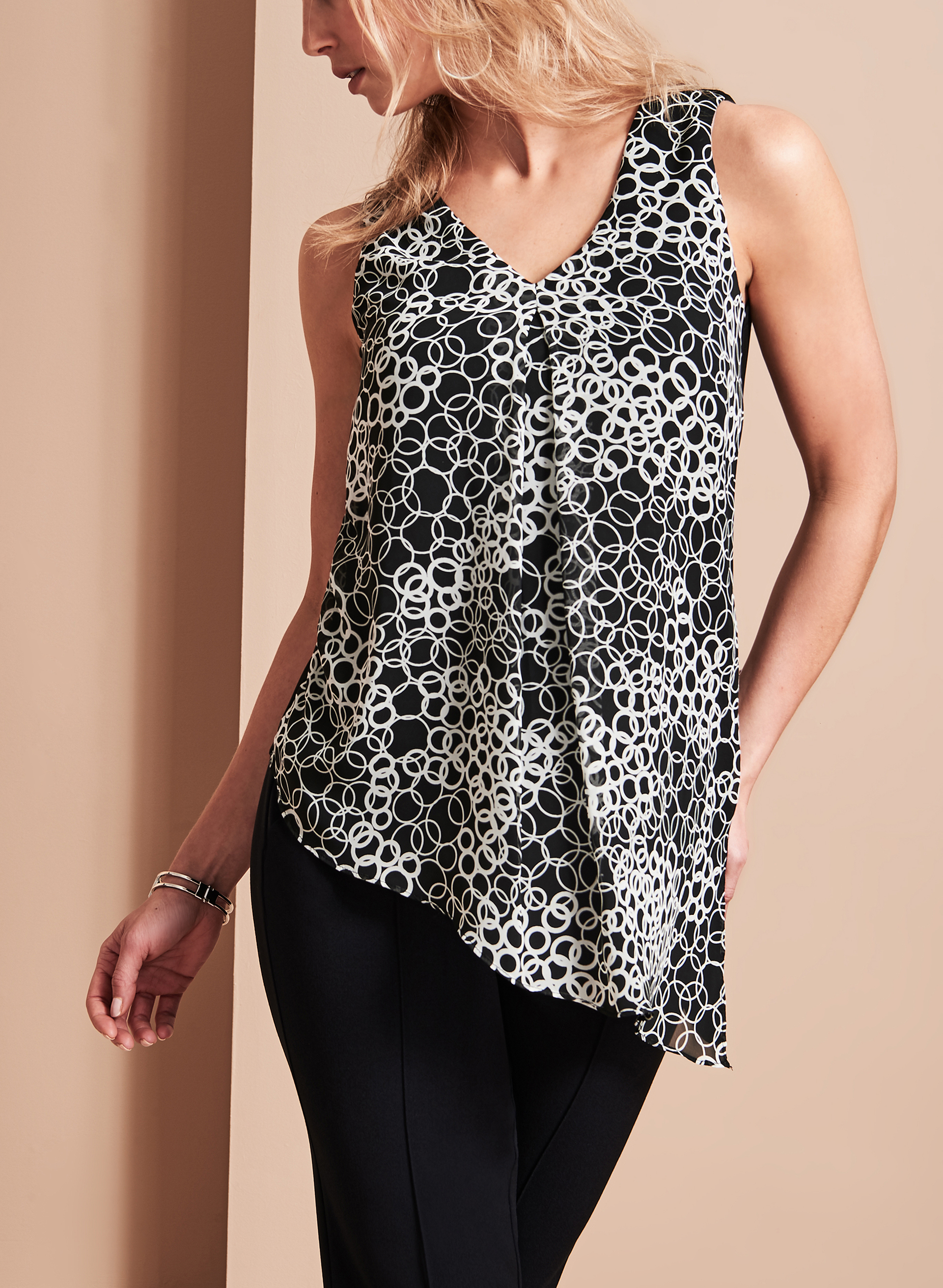 Geometric Print Asymmetrical Top, Black, hi-res