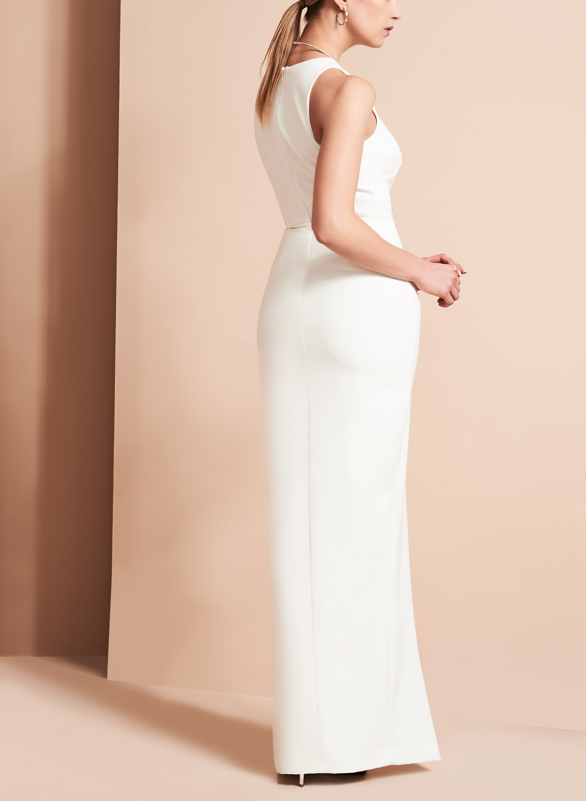 Crêpe Asymmetric Ruffle Gown, Off White, hi-res