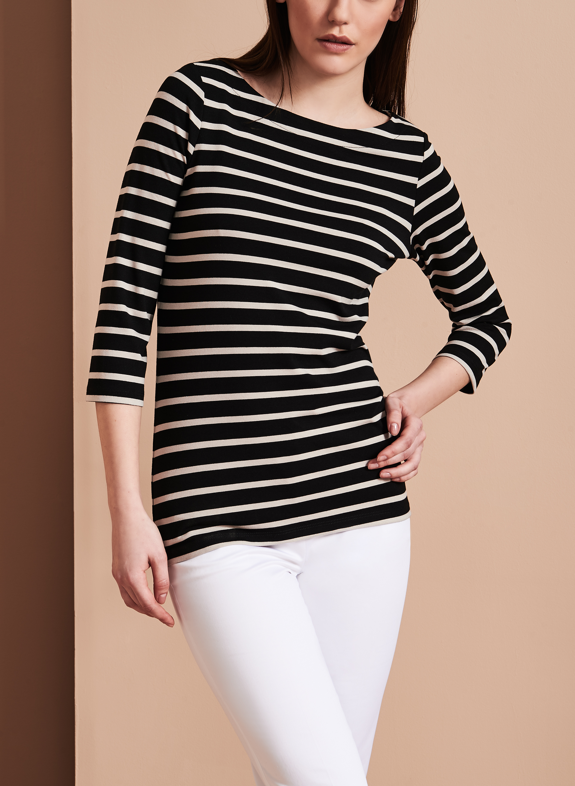 3/4 Sleeve Stripe Print Top , Black, hi-res