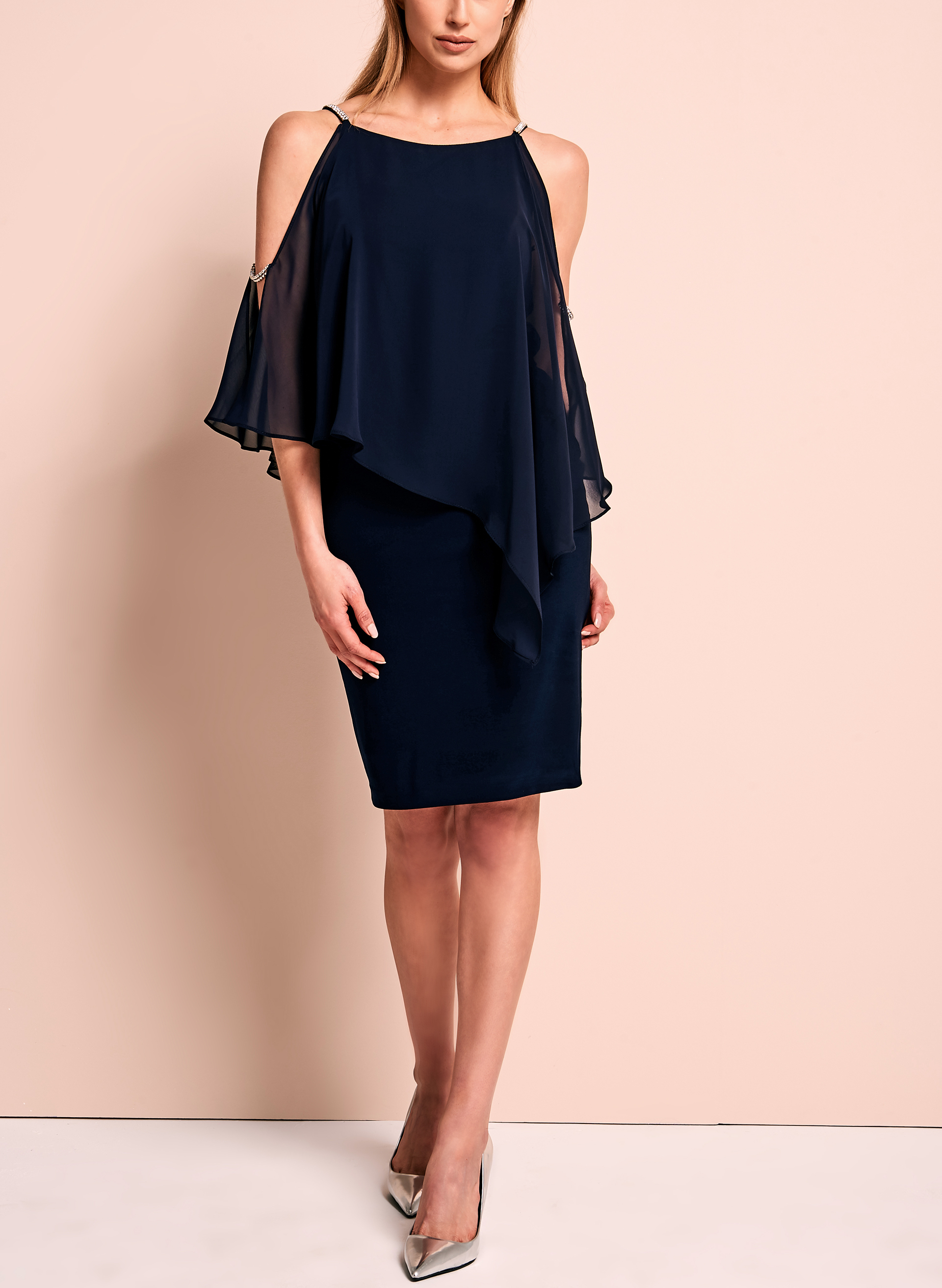 Crystal Embellished Cold Shoulder Poncho Dress, Blue, hi-res