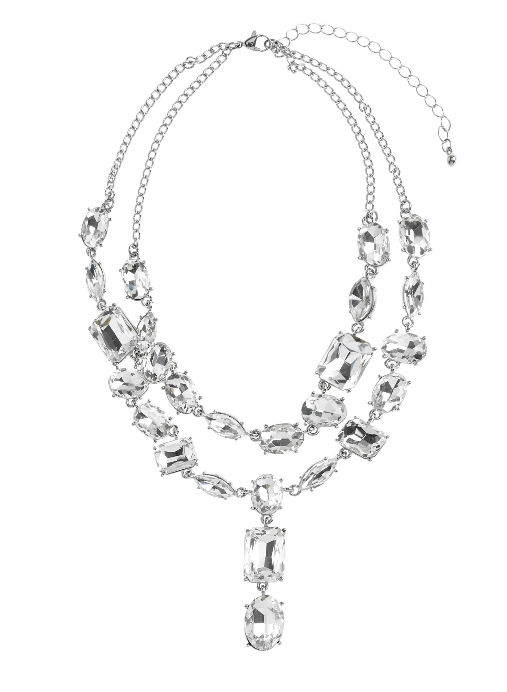 Crystal Pendant Choker Necklace, Silver, hi-res