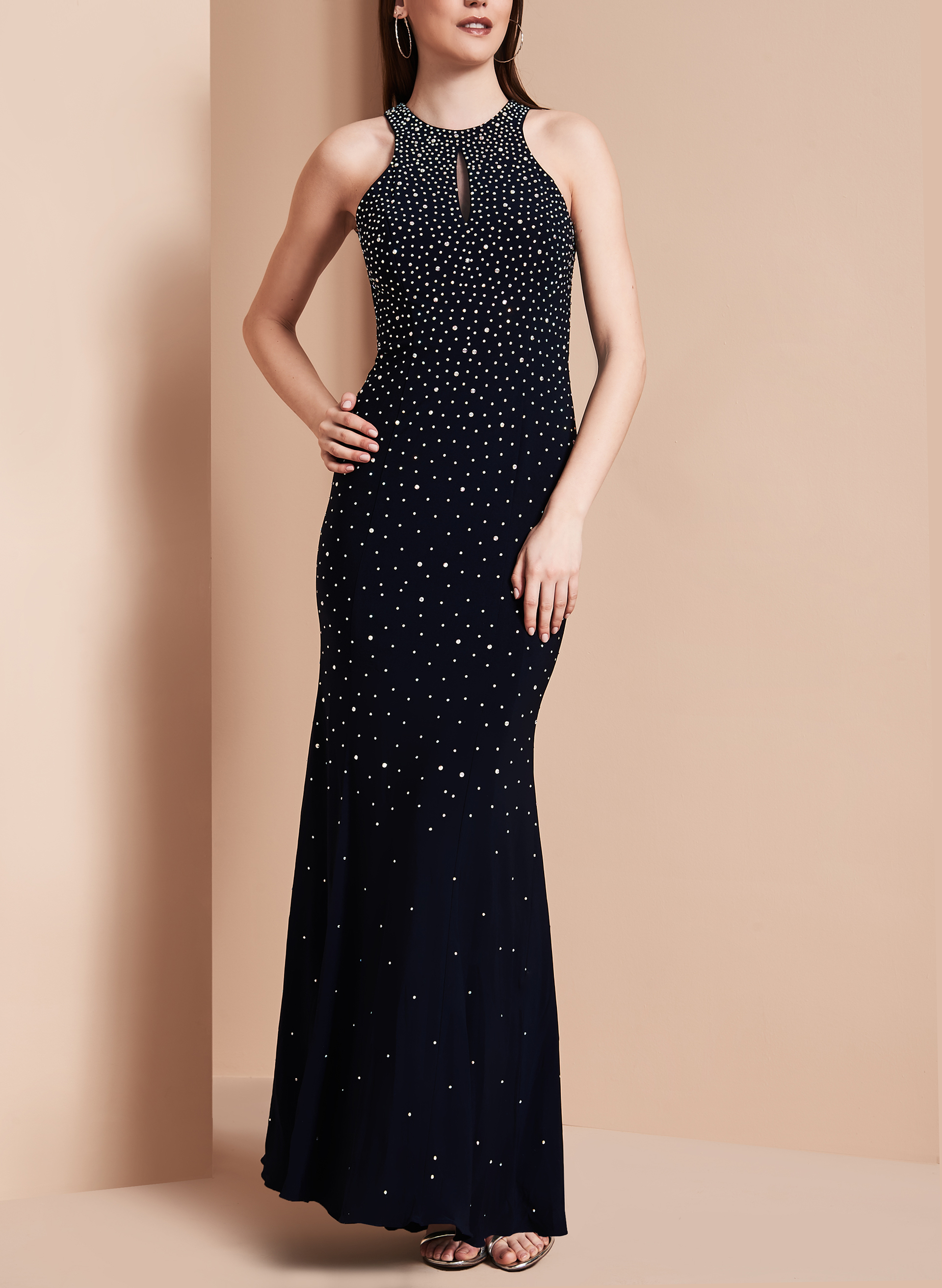 Beaded Open Back Gown, Blue, hi-res