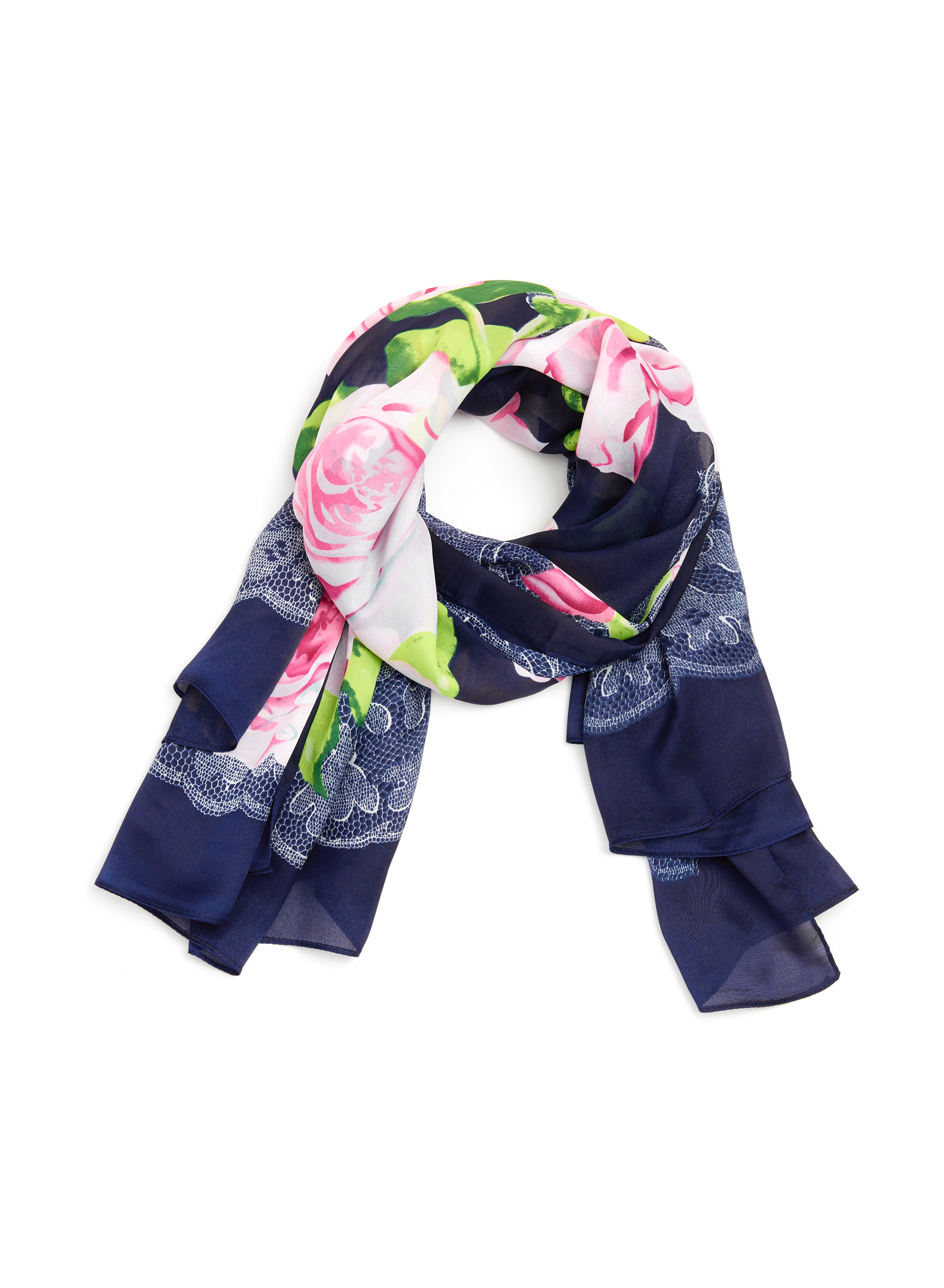 Lace & Rose Print Scarf , Blue, hi-res