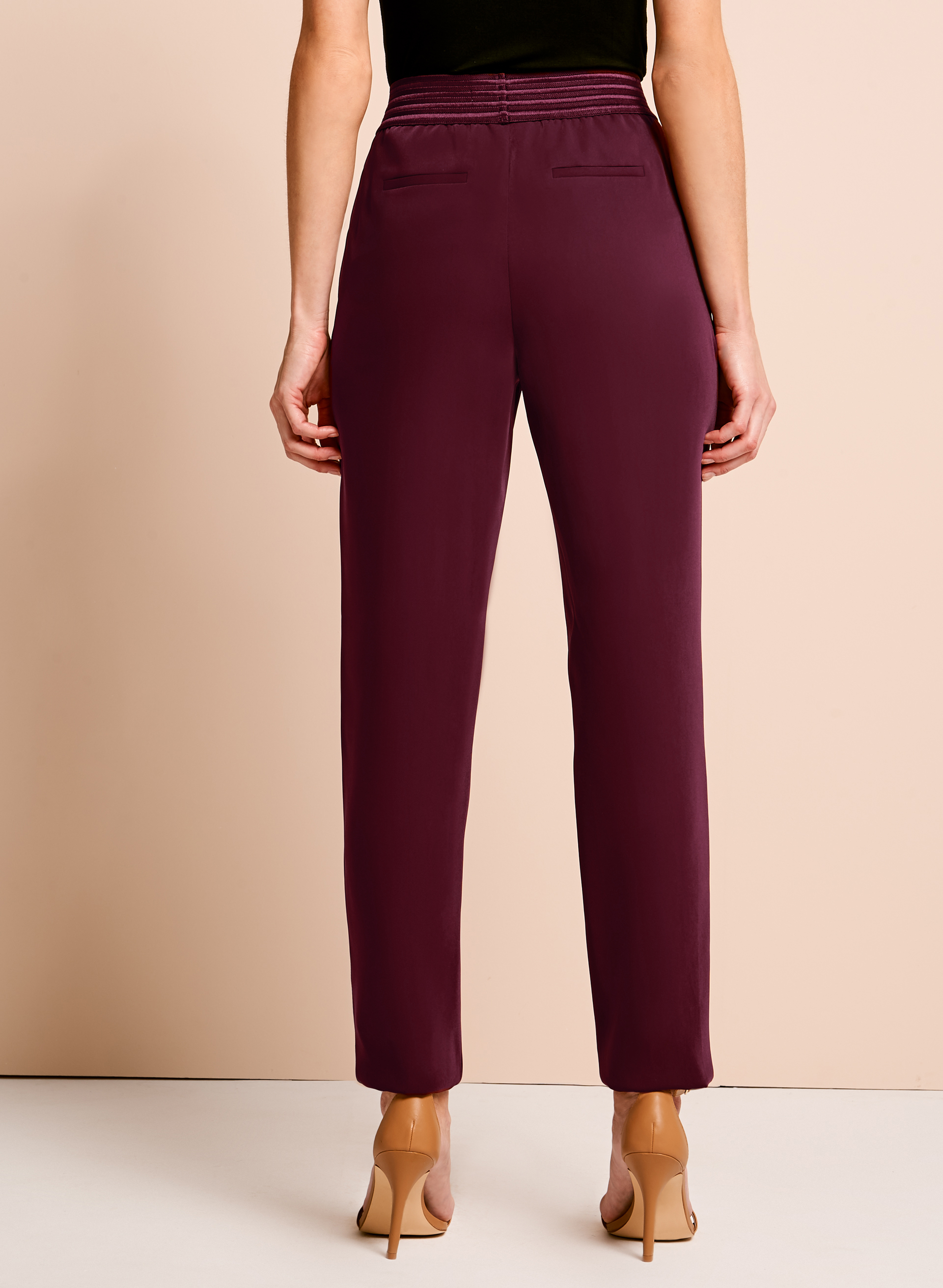 Pull On Slim Leg Pants, Red, hi-res