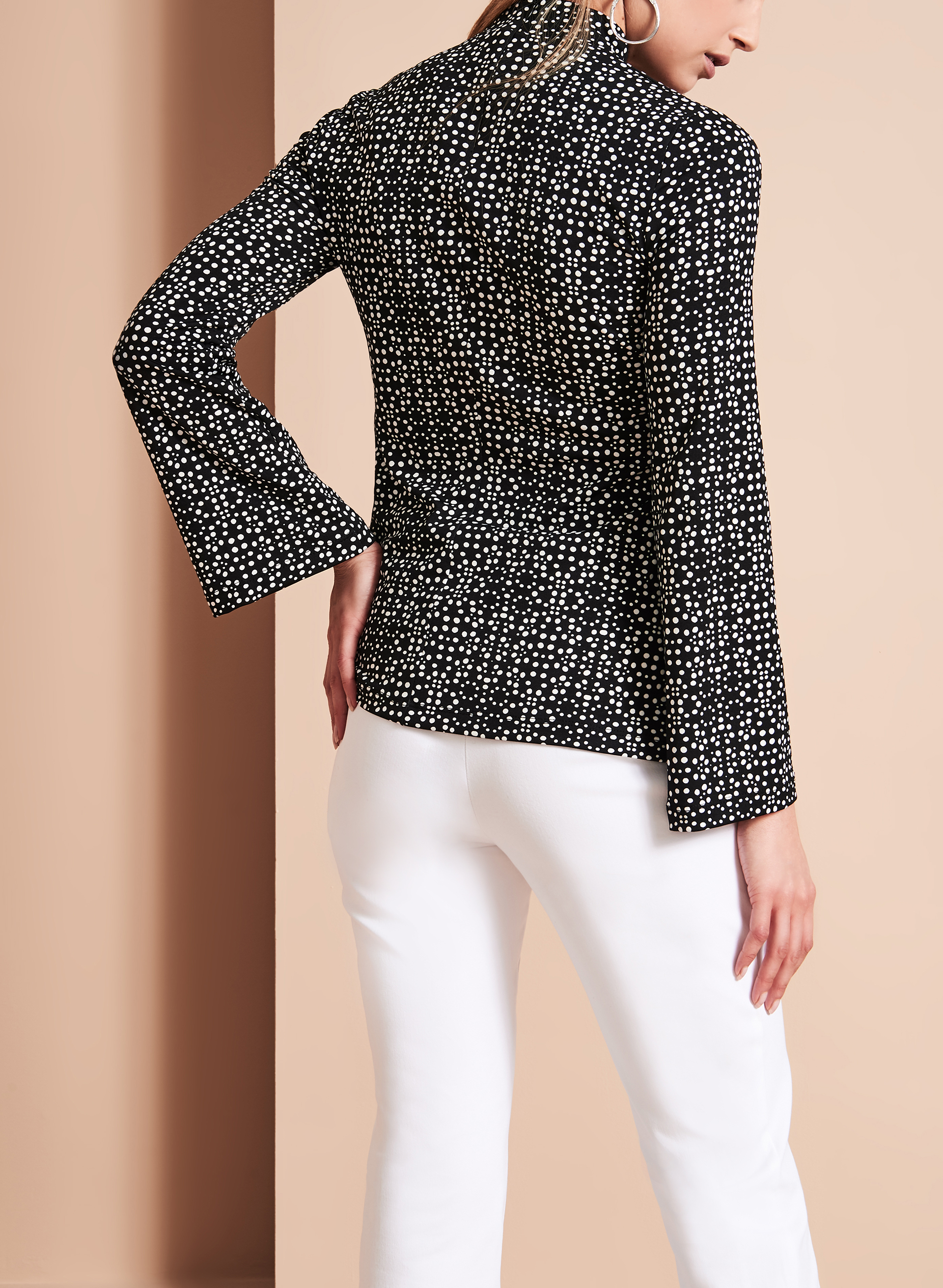 Dot Print Choker Blouse, Black, hi-res