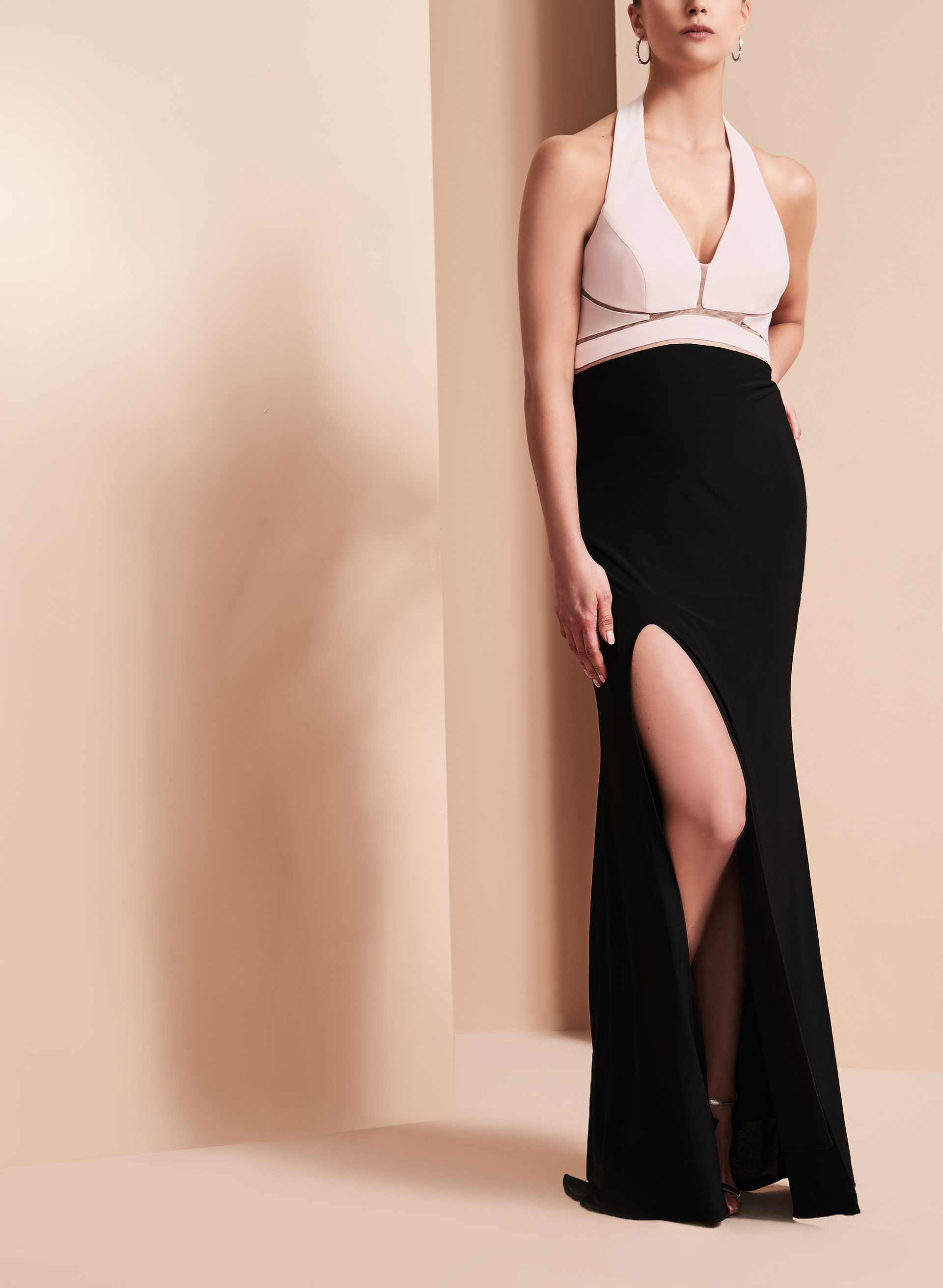 Jersey Illusion Waist Gown , Black, hi-res