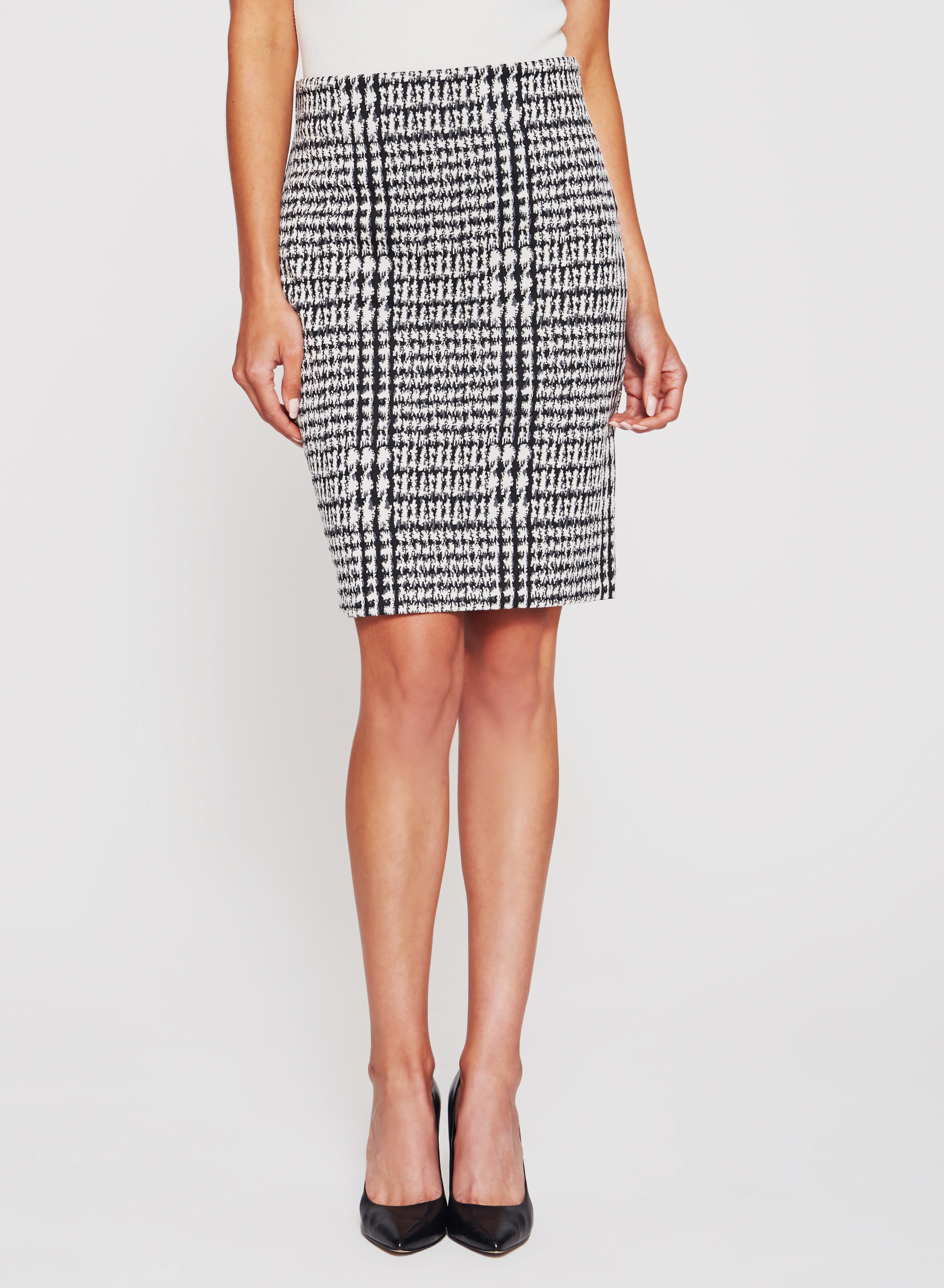 Double Knit Houndstooth Pencil Skirt , Black, hi-res
