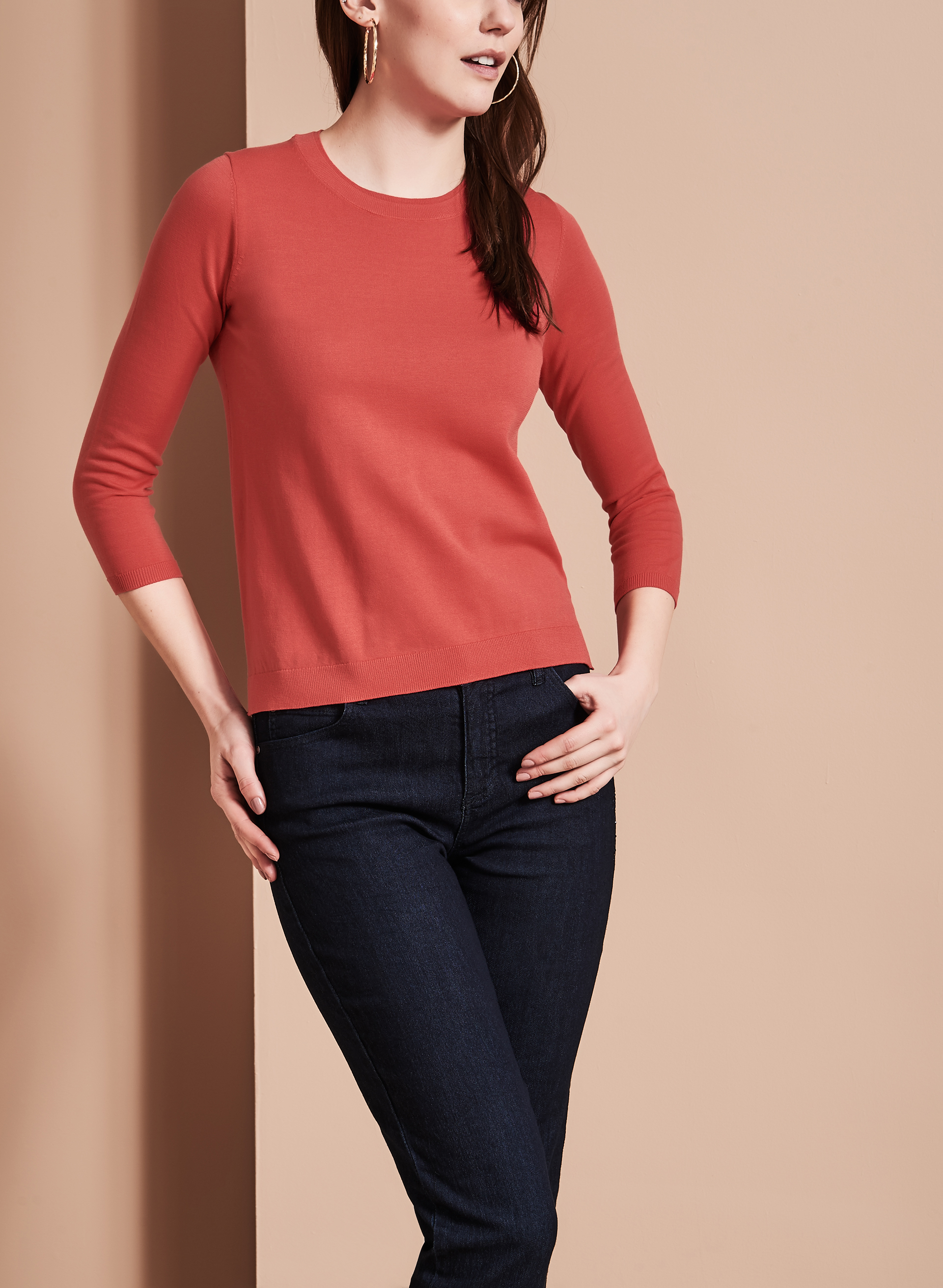 Double Layer Crew Neck Sweater, Red, hi-res