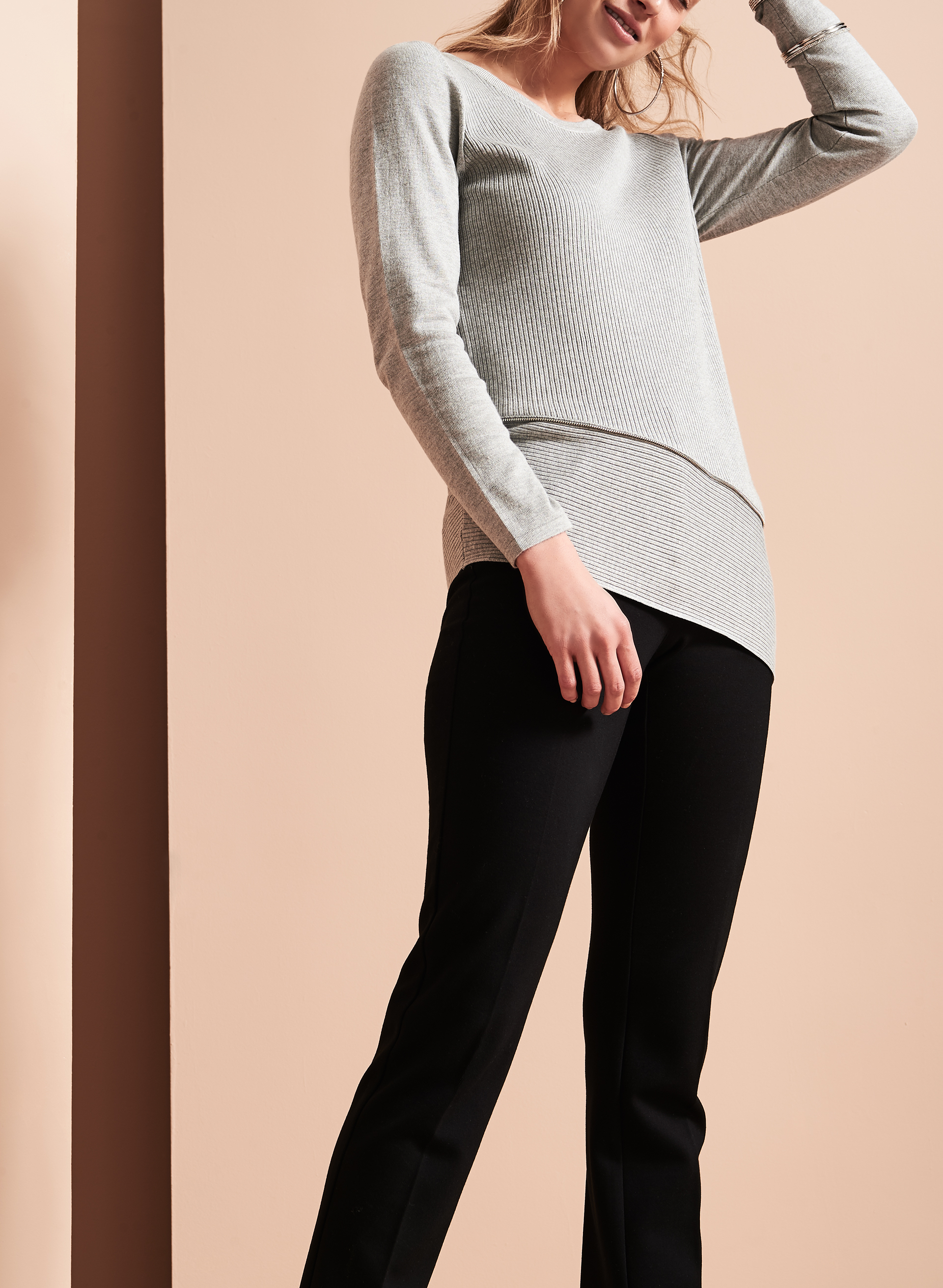 Asymmetrical Zipper Trim Sweater, Grey, hi-res
