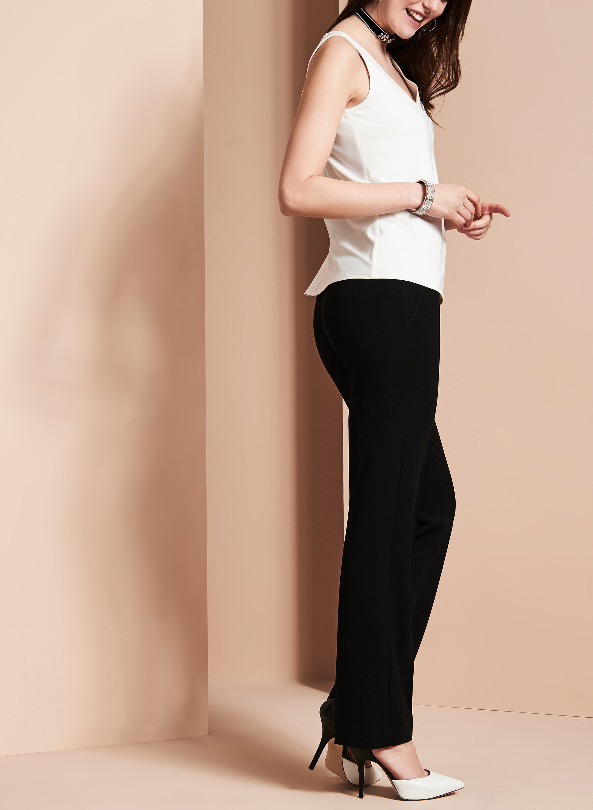 Bi-Stretch Straight Leg Pants, Black, hi-res