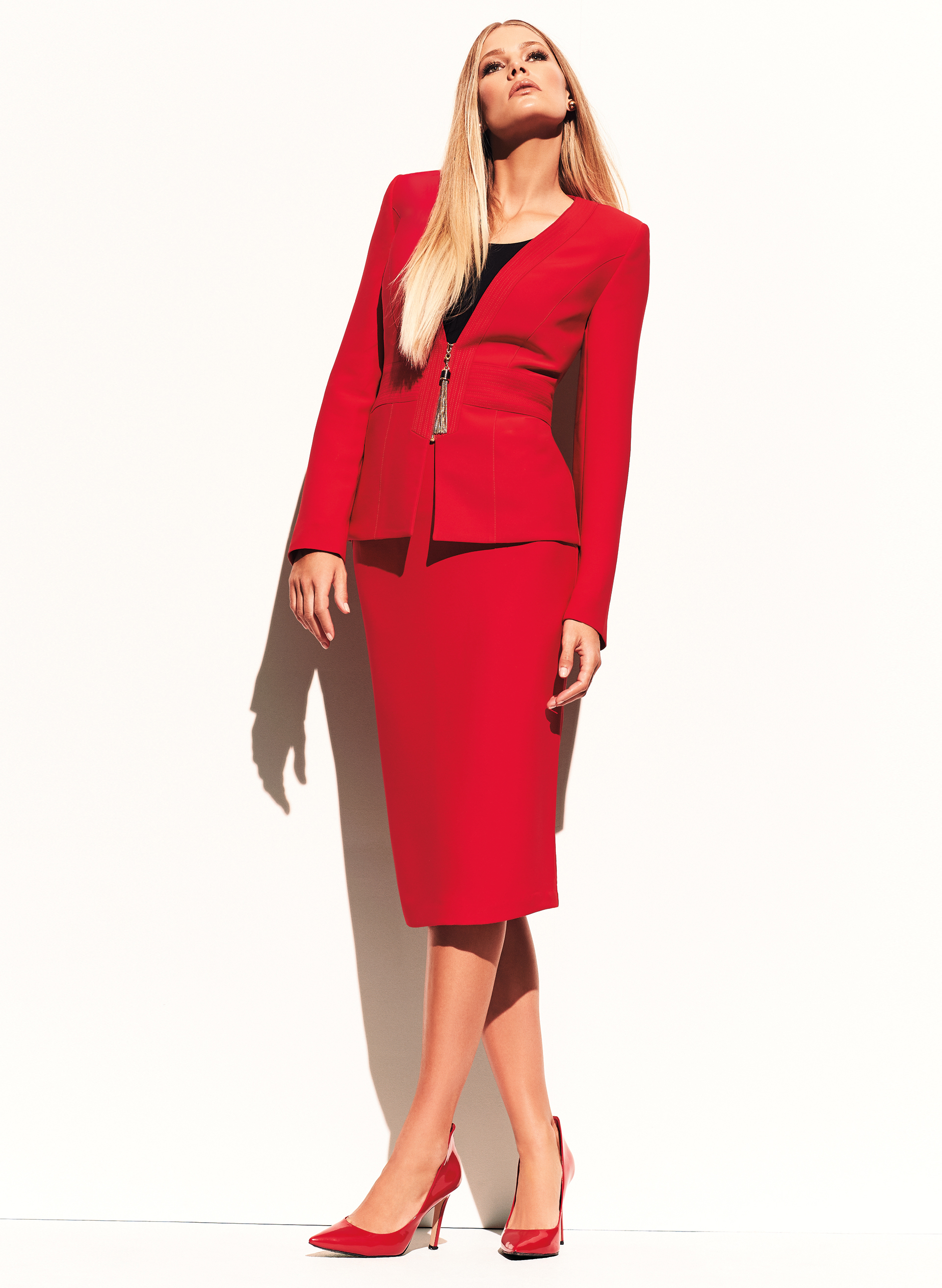 Tassel Trim Zip Front Jacket, Red, hi-res