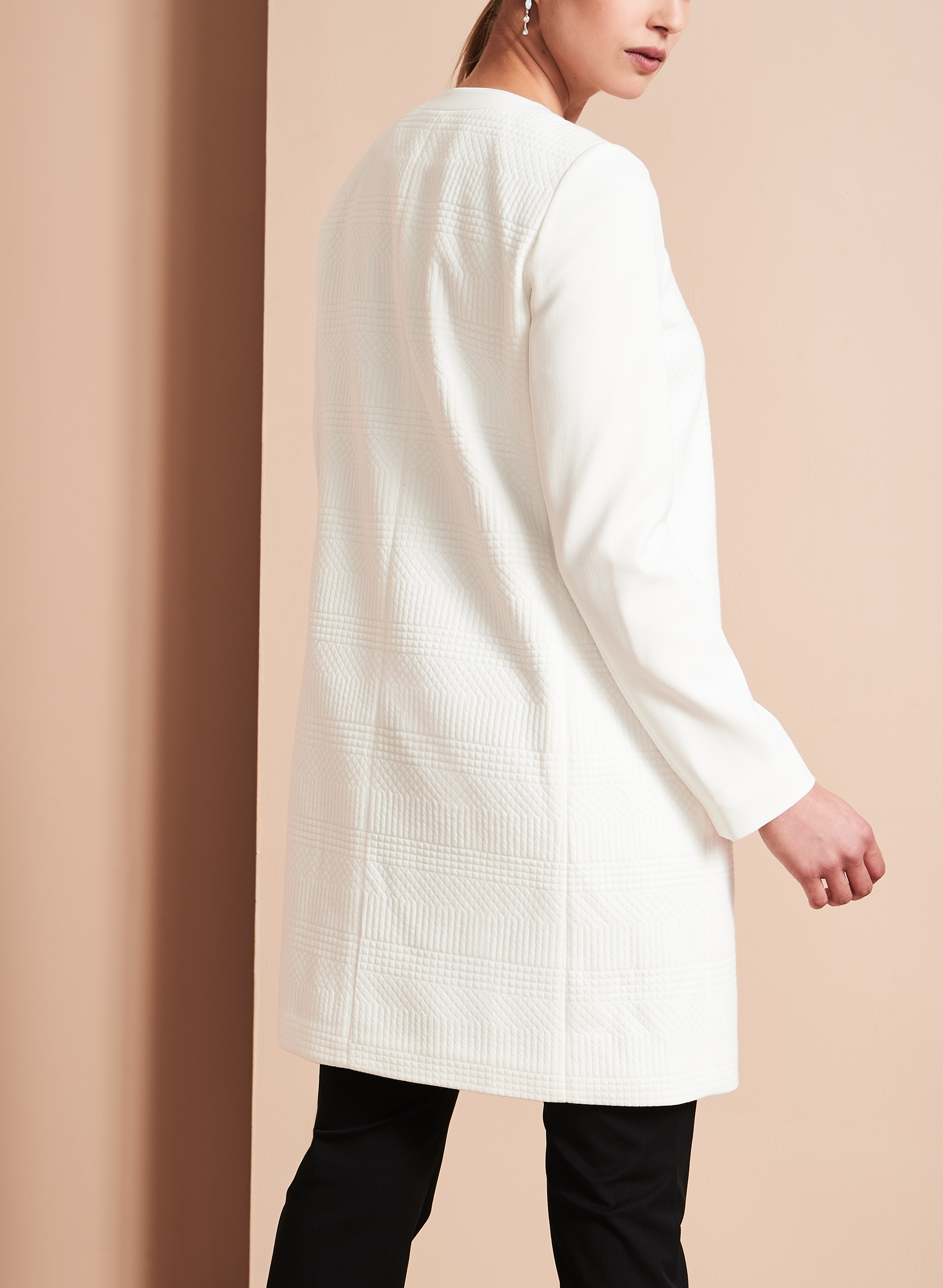 Tahari - Knit Jacquard Open Jacket, Off White, hi-res