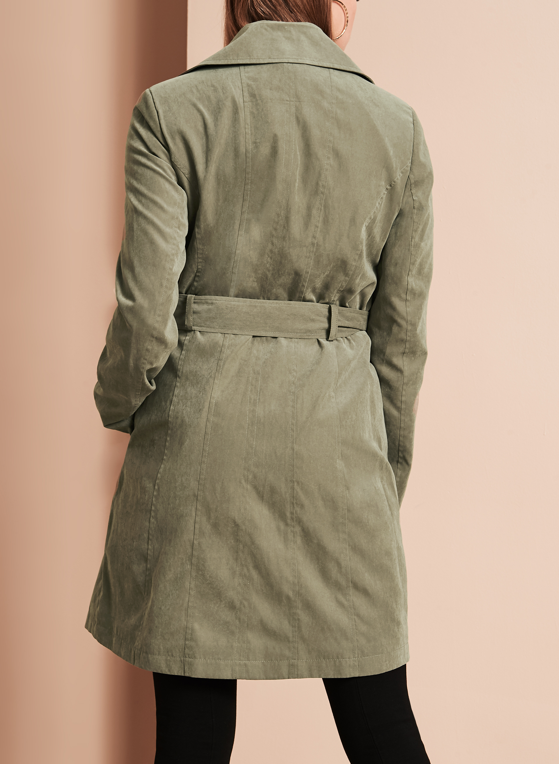 Double Breasted Trench Coat, Green, hi-res