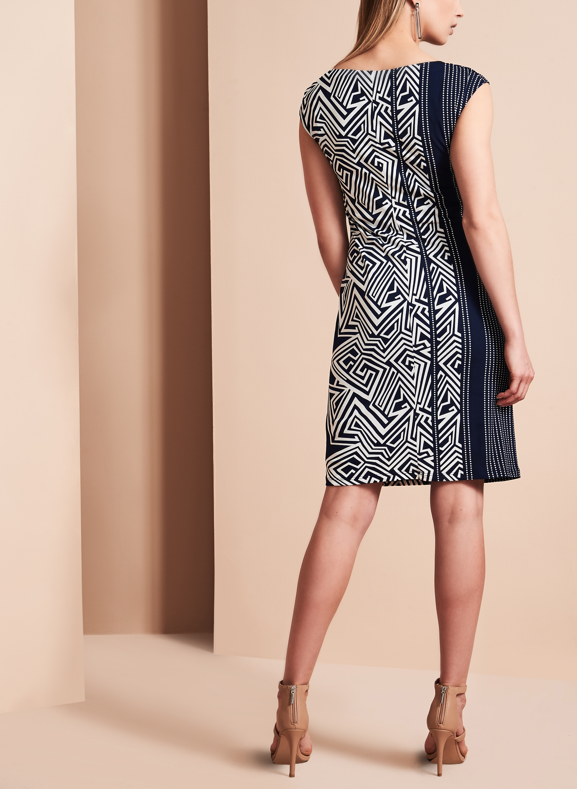 Jersey Graphic Print Dress, Blue, hi-res