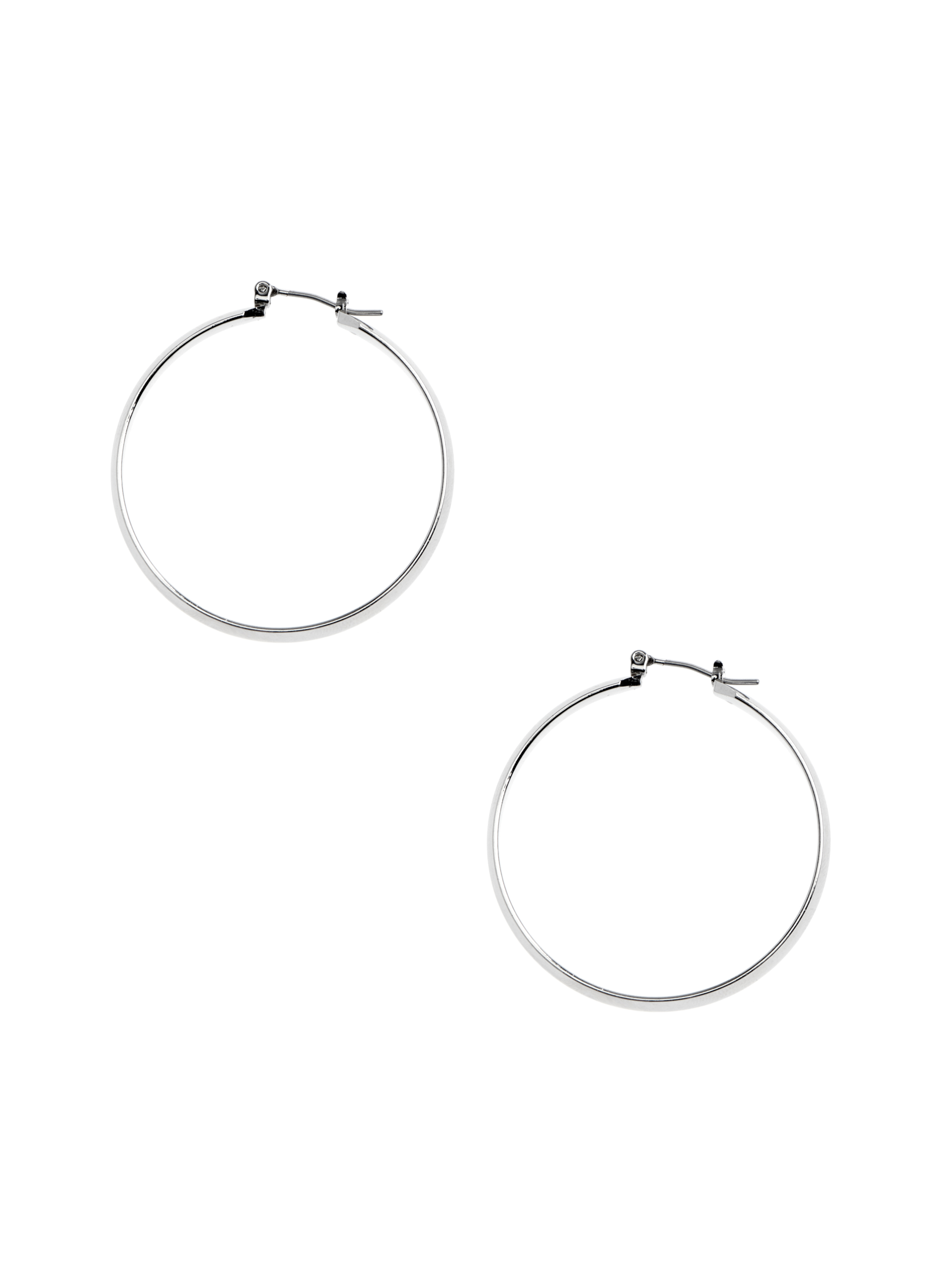 Thick Hoop Earrings , Silver, hi-res