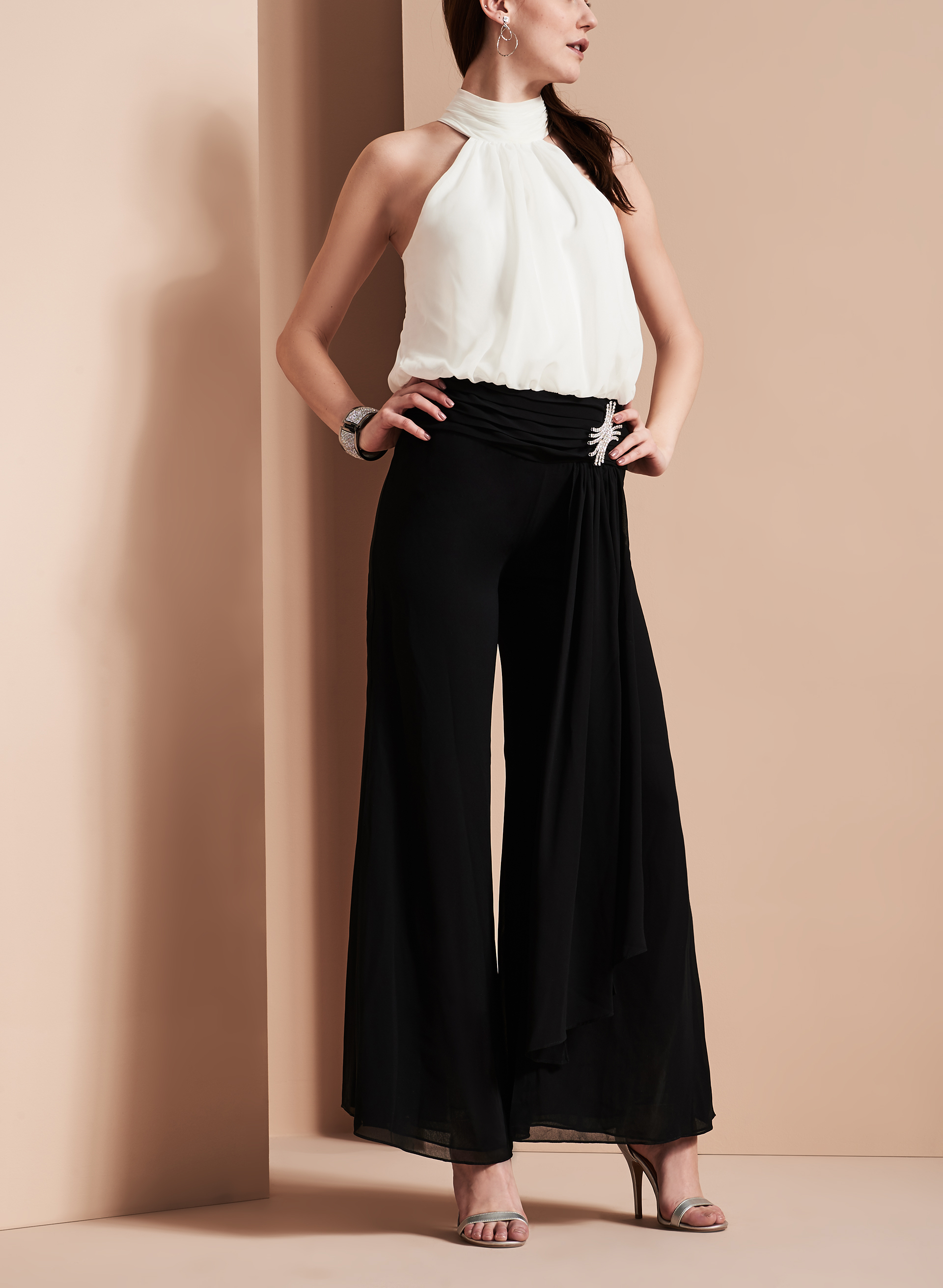 Chiffon & Jewel Trim Jumpsuit , Black, hi-res