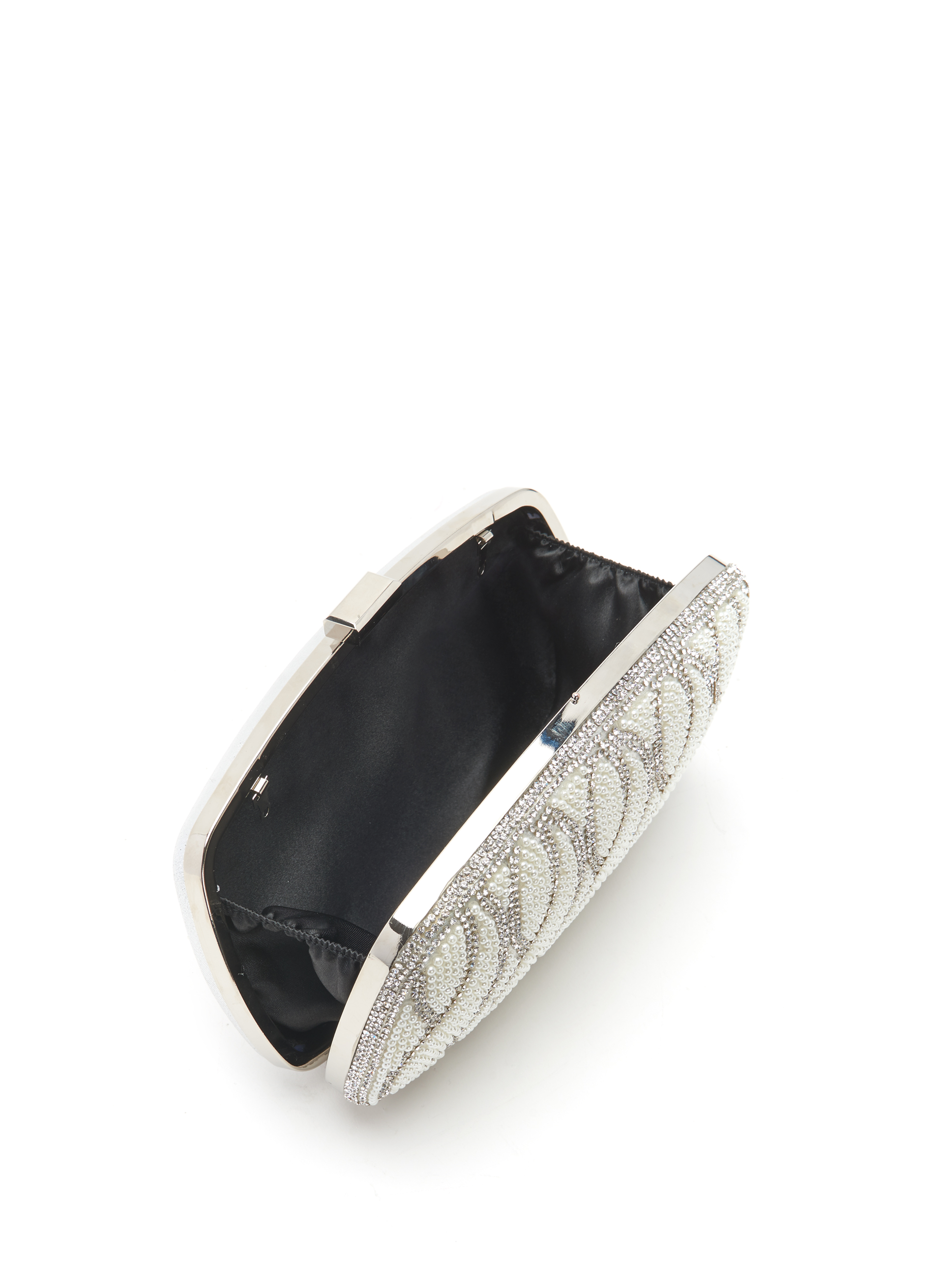 Pearl & Crystal Clutch, Off White, hi-res