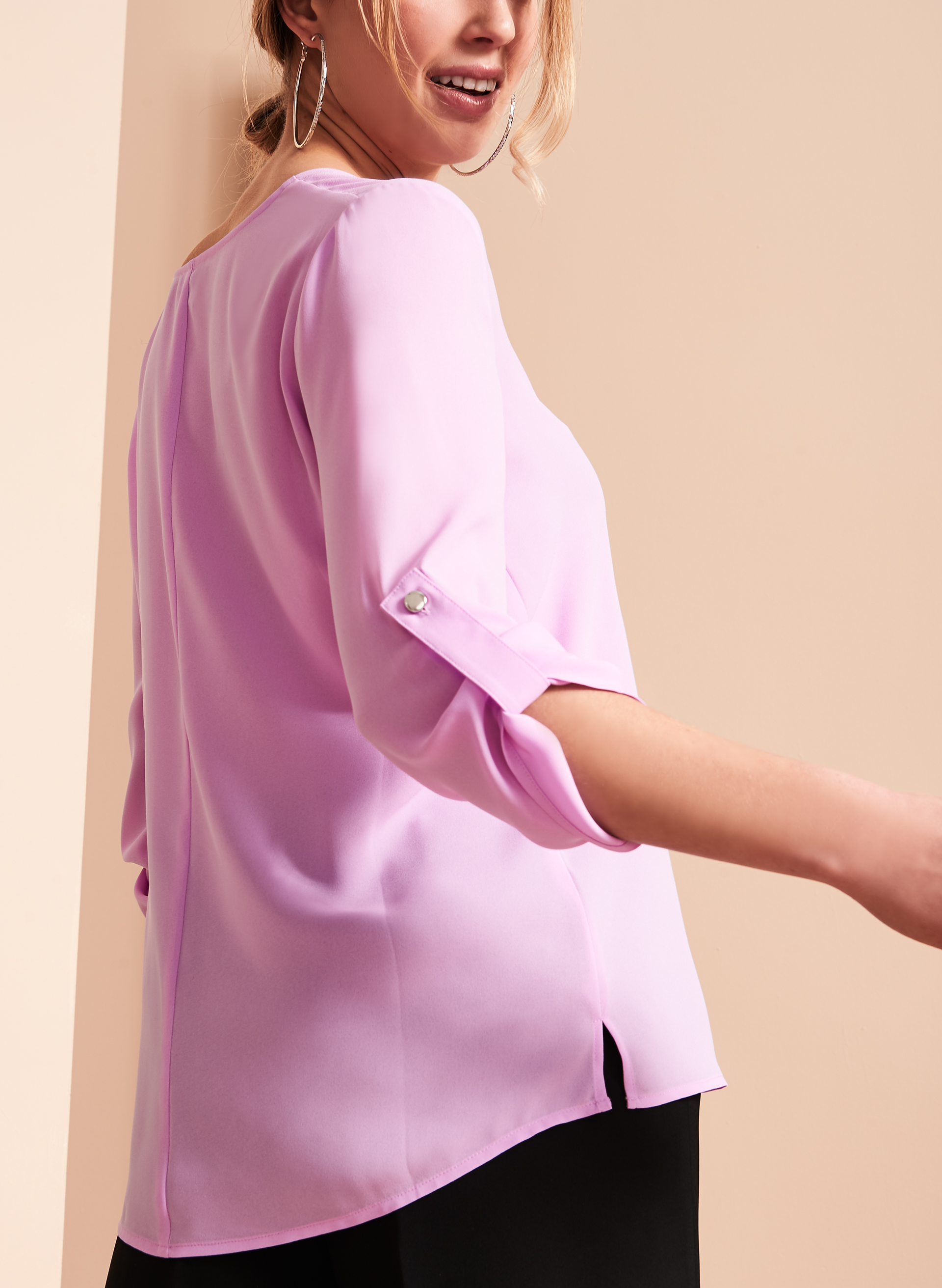 V-Neck Tunic Blouse , Purple, hi-res