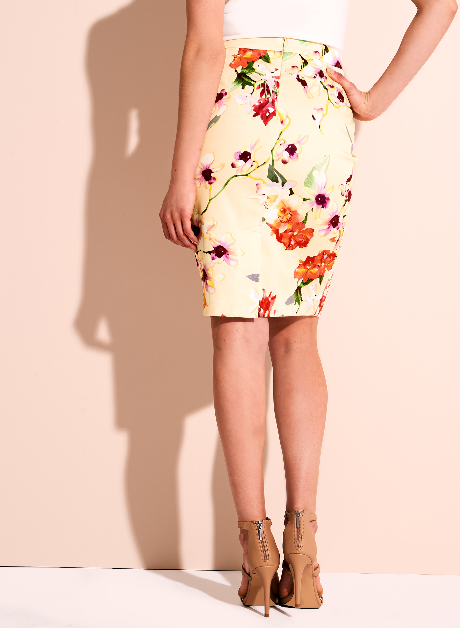 Floral Print Sateen Pencil Skirt, Red, hi-res