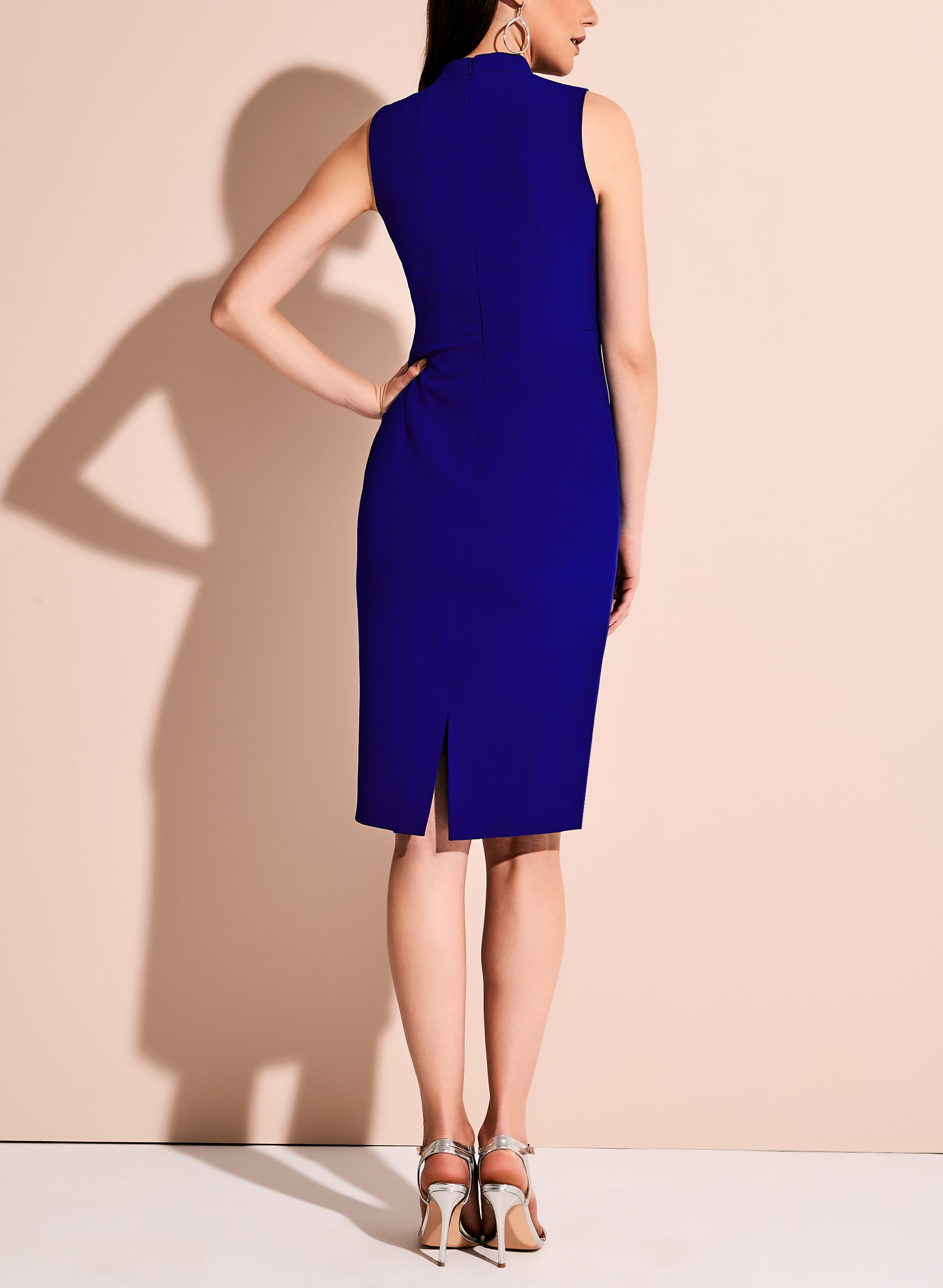 Maggy London Bow Neck Crepe Dress, Blue, hi-res
