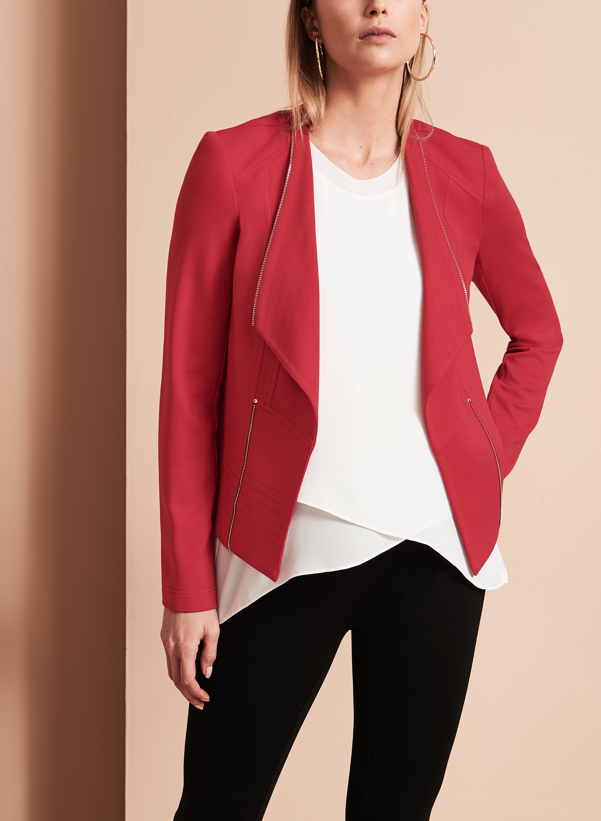 Vex Knit Cascade Jacket, Red, hi-res