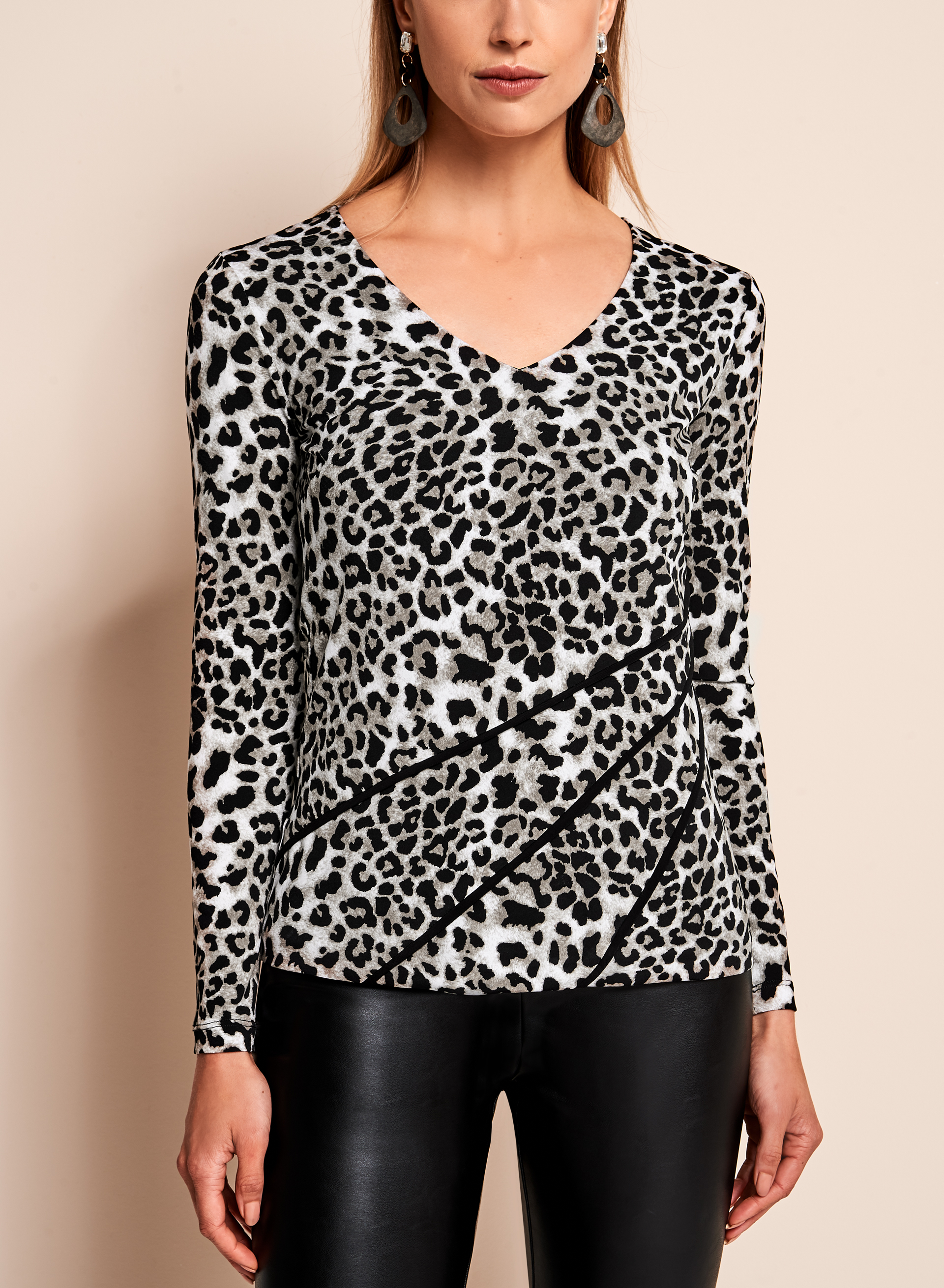 Leopard Print Long Sleeve Top, White, hi-res