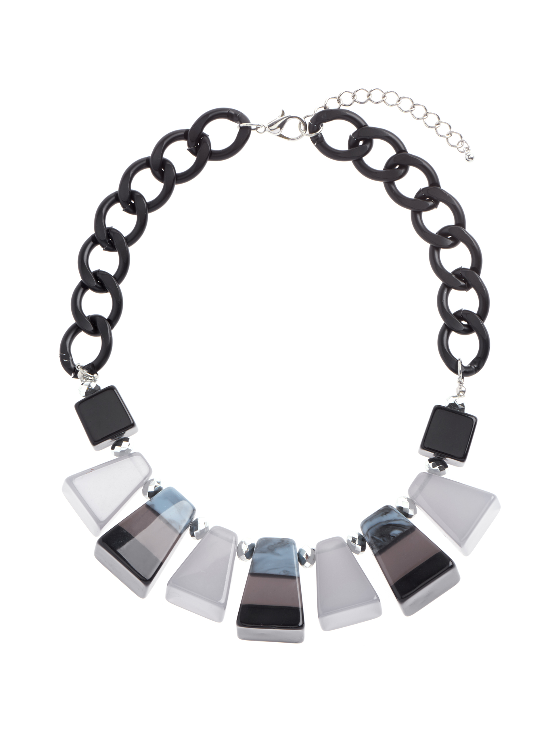 Jewel & Chain Necklace , Grey, hi-res
