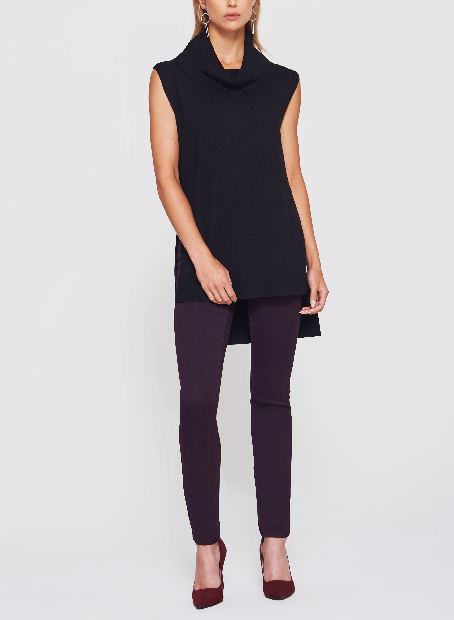 Sleeveless Cowl Neck Knit Tunic , Black, hi-res