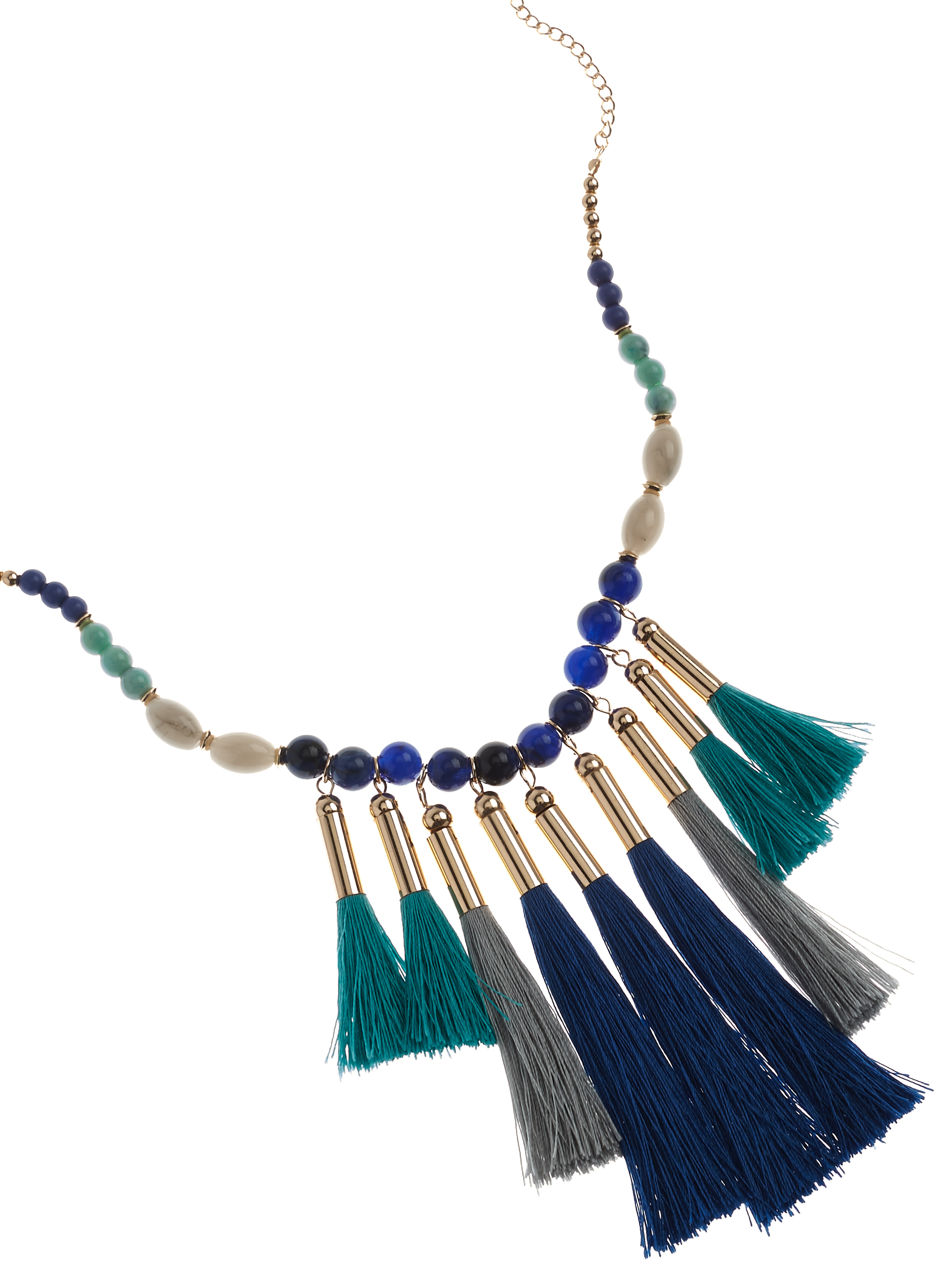 Beaded Multi Tassel Necklace, Blue, hi-res