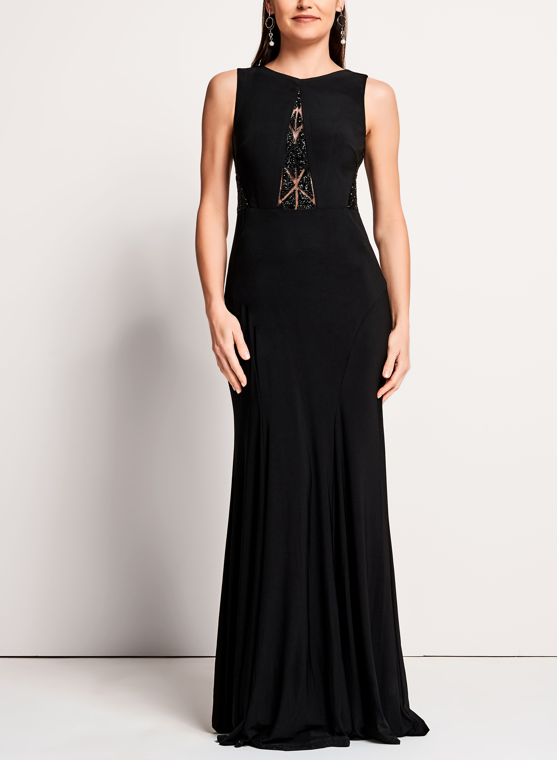 Beaded Mesh Jersey Gown, Black, hi-res