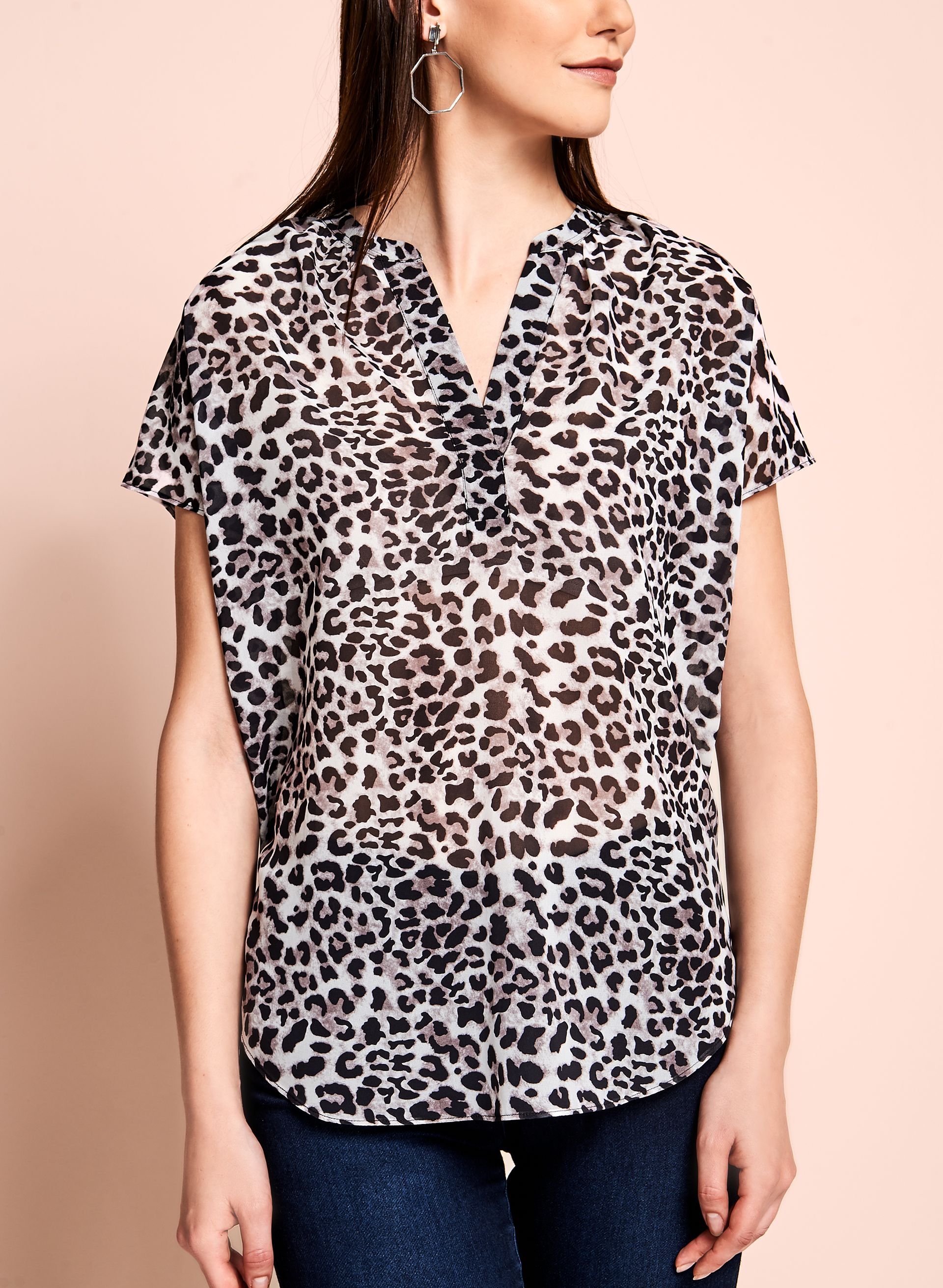 Leopard Print Sheer Blouse, Off White, hi-res