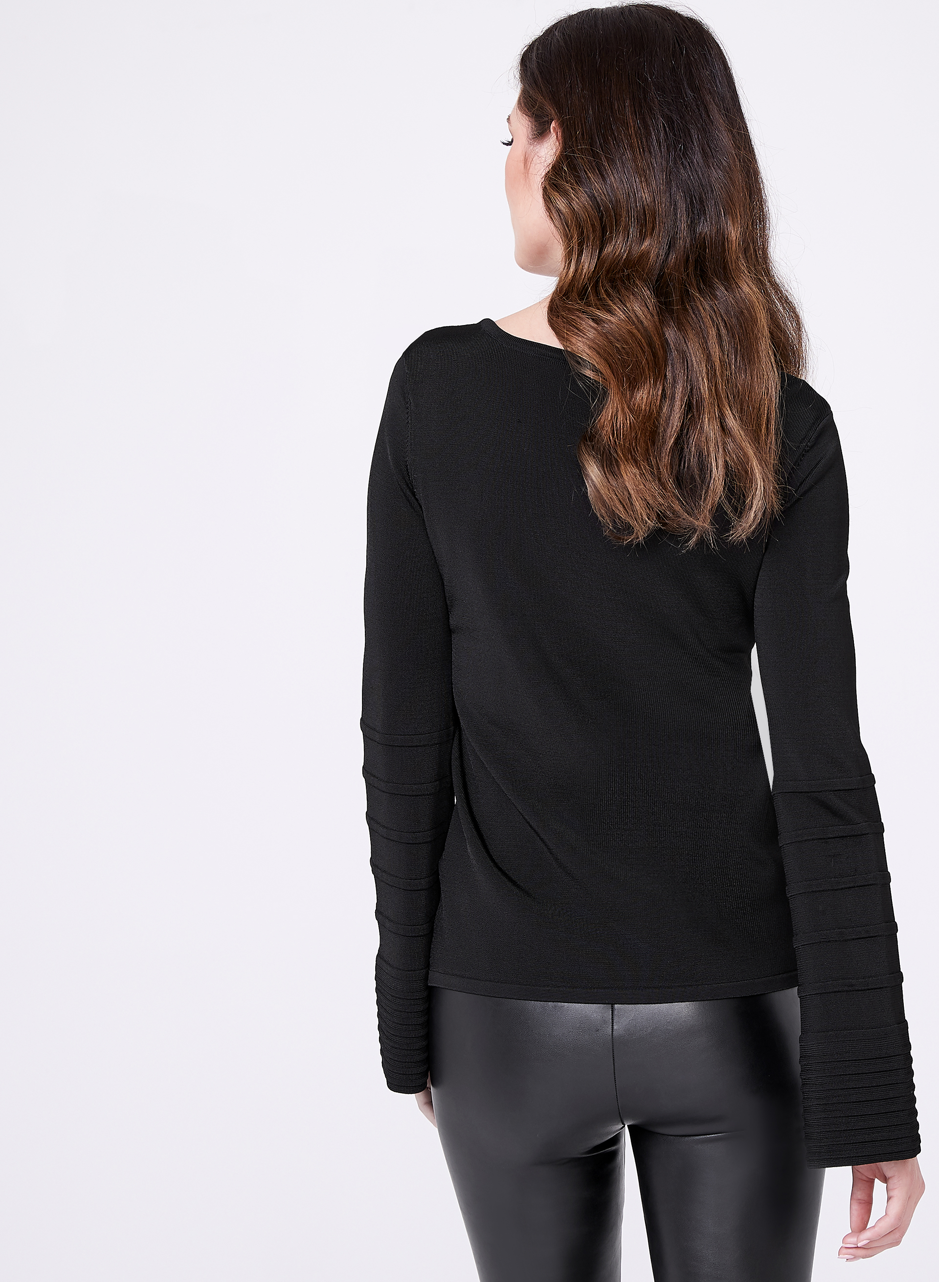 Long Bell Sleeve Sweater, Black, hi-res