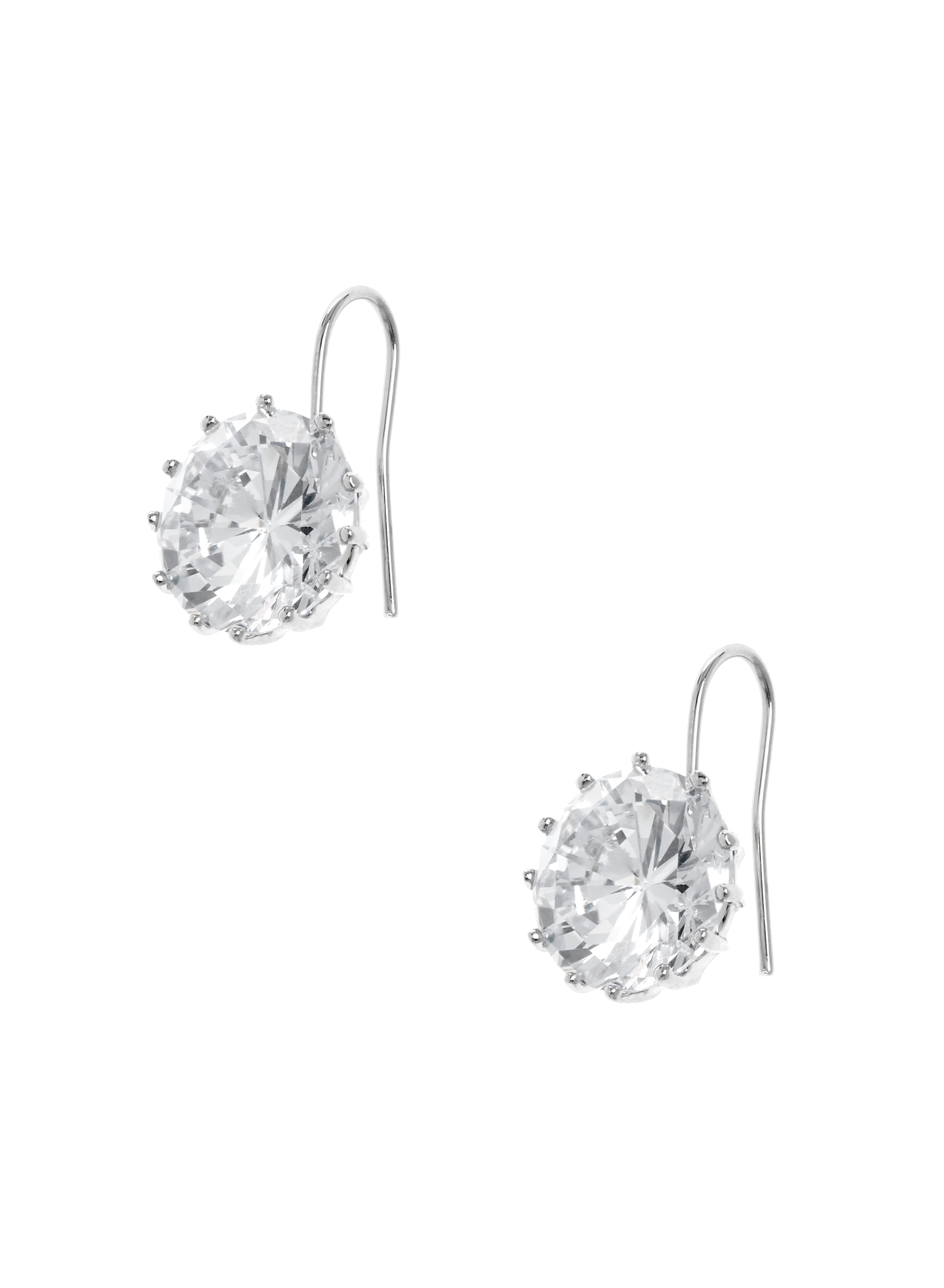 Crystal Stud Dangle Earrings , Silver, hi-res