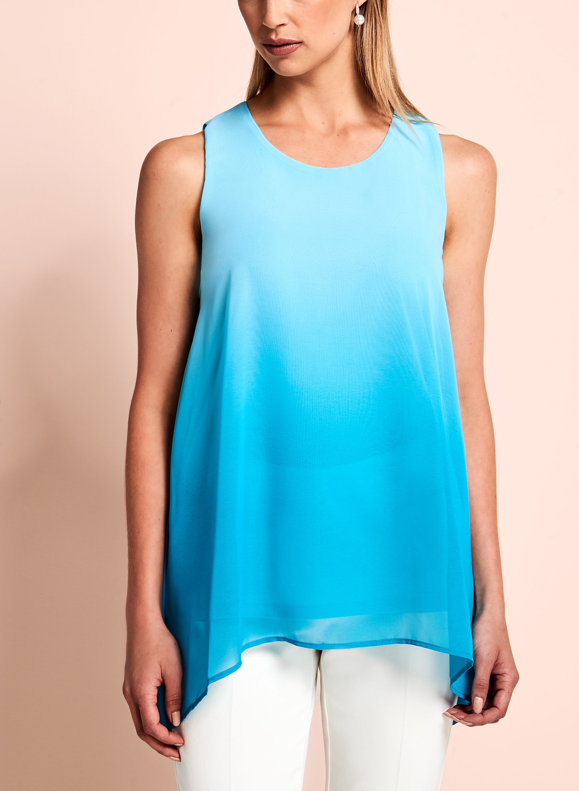 Sleeveless Ombré Blouse, Blue, hi-res