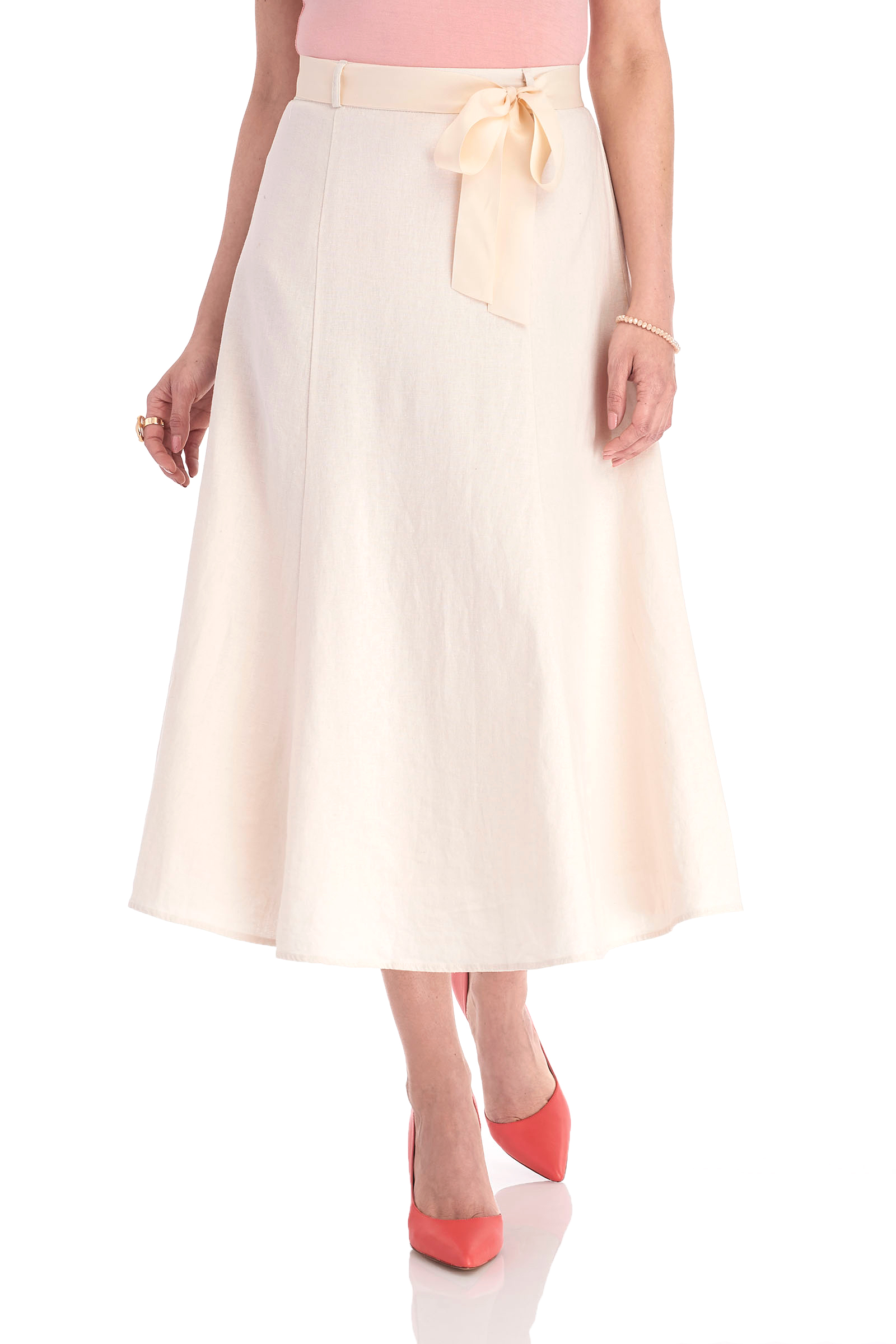 Linen Belted Midi Skirt, Off White, hi-res