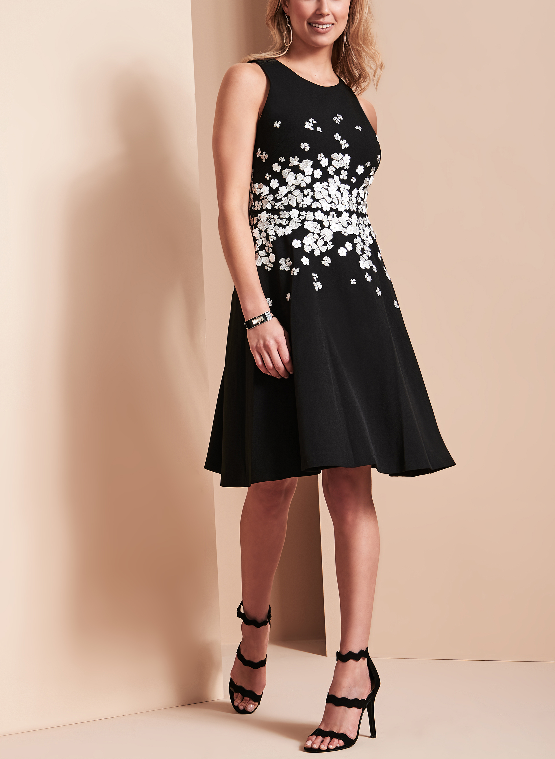 Maggy London Floral Appliqué Dress, Black, hi-res