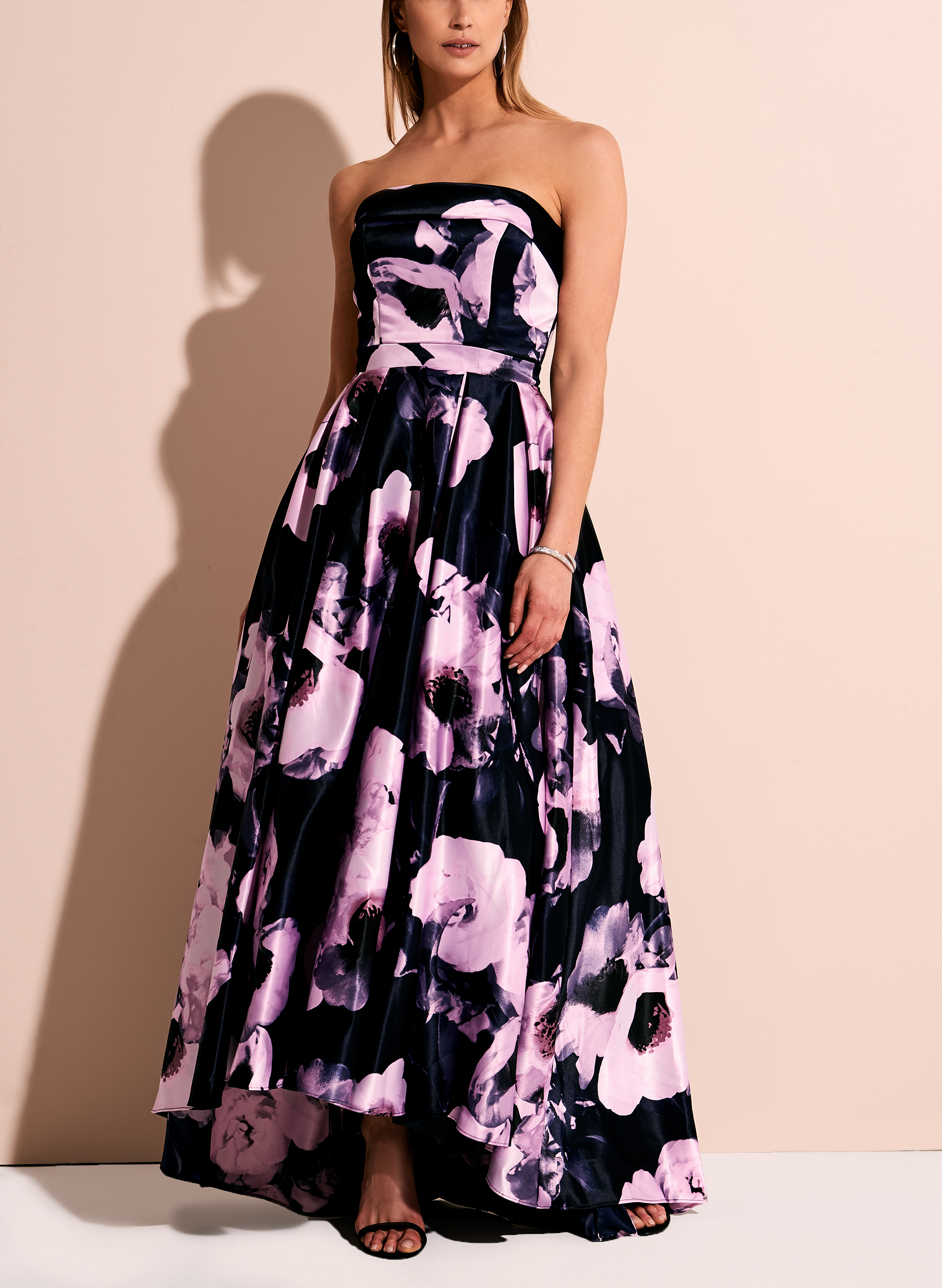 Strapless Floral High-Low Print Ball Gown, Blue, hi-res