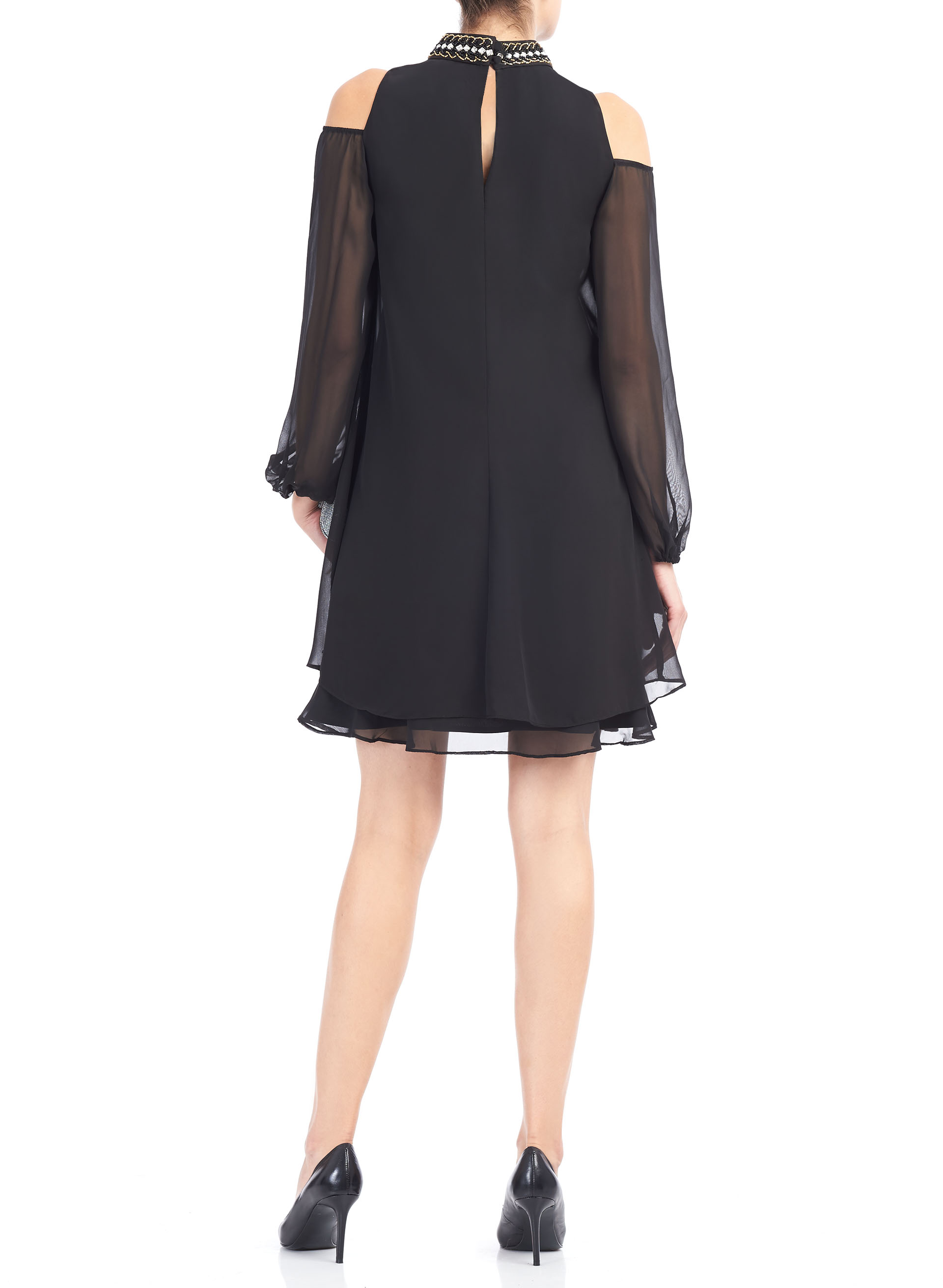 Cold Shoulder Beaded Neck Dress, Black, hi-res