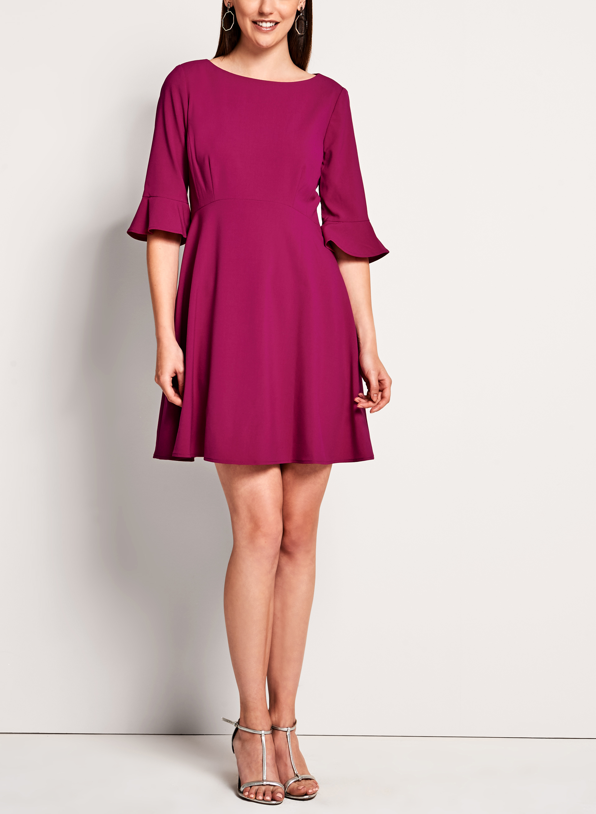 Tahari - 3/4 Sleeve Fit & Flare Dress, Pink, hi-res