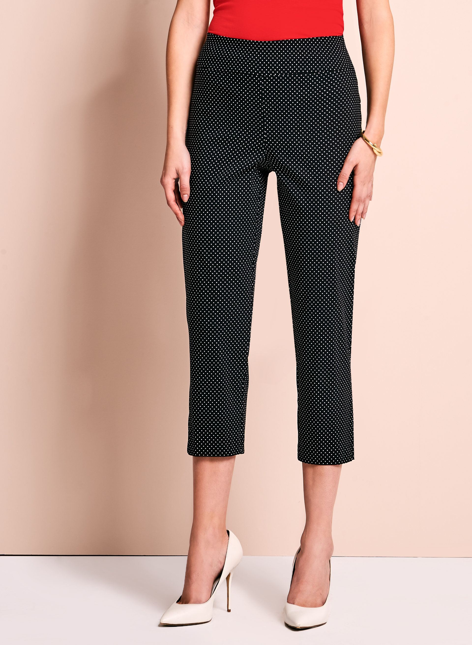 Dot Print Capri Pants, Black, hi-res